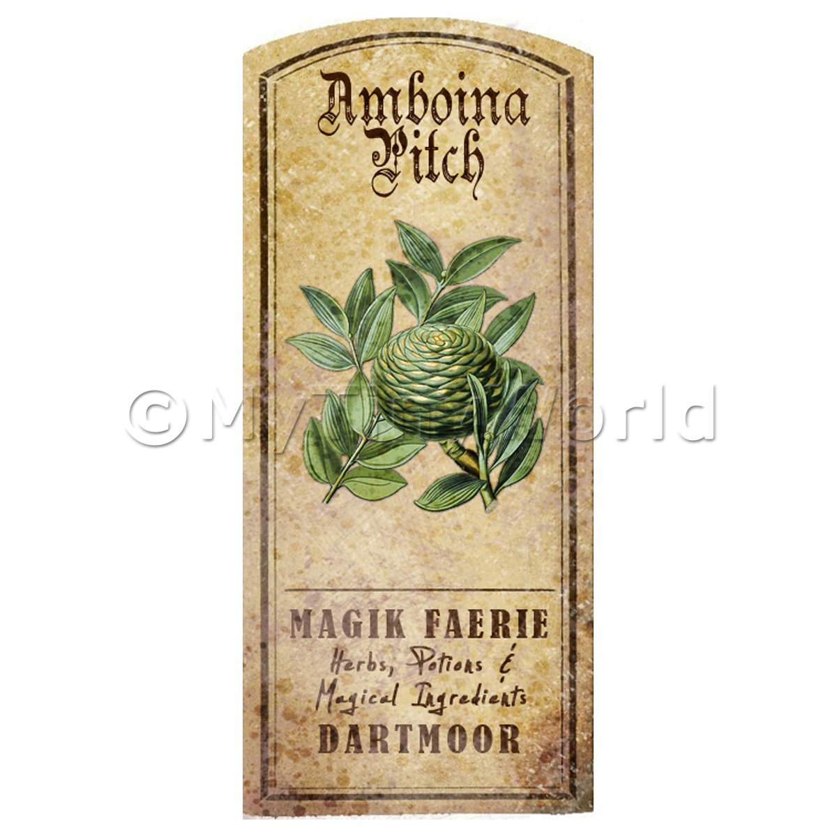 Dolls House Herbalist/Apothecary Amboina Pitch Herb Short Colour Label