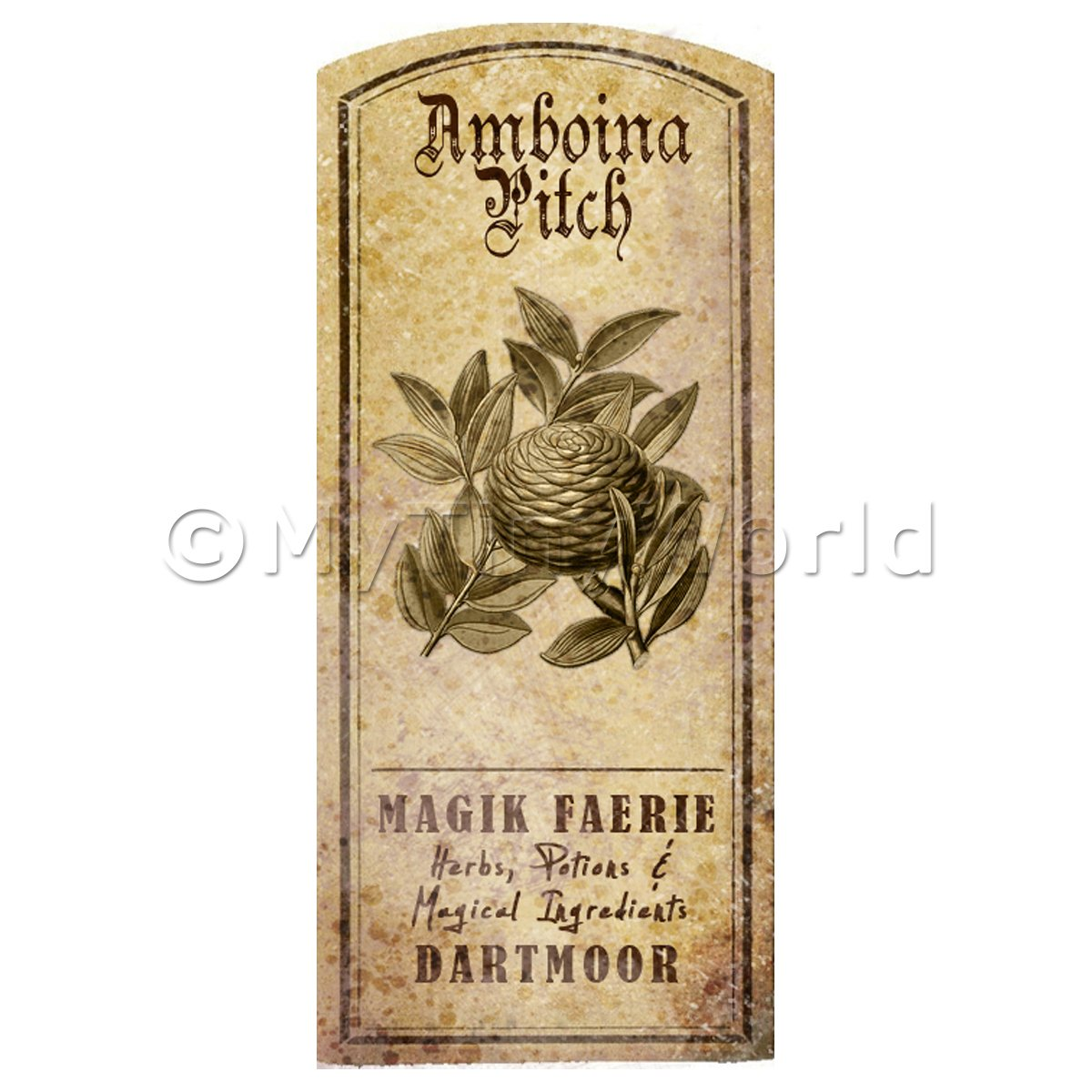 Dolls House Herbalist/Apothecary Amboina Pitch Herb Short Sepia Label