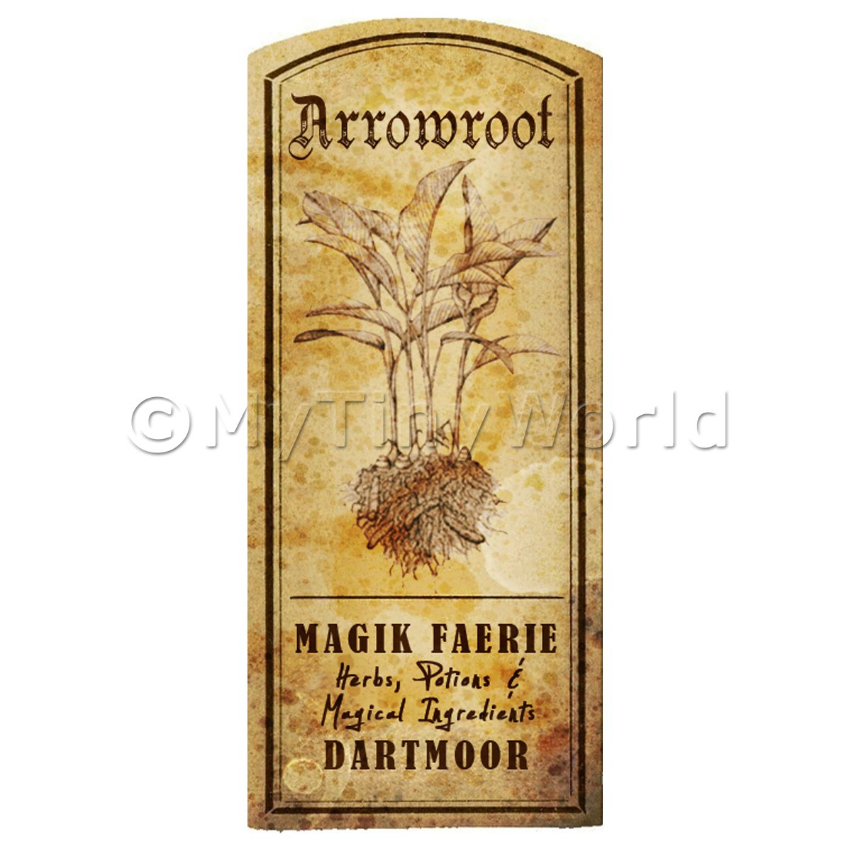 Dolls House Herbalist/Apothecary Herb Arrowroot Short Sepia Label