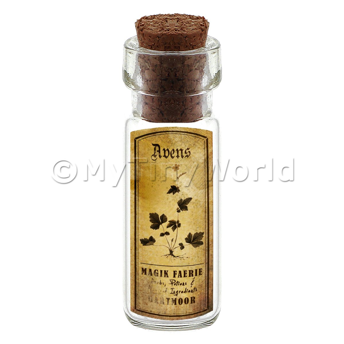 Dolls House Apothecary Avens Herb Short Sepia Label And Bottle