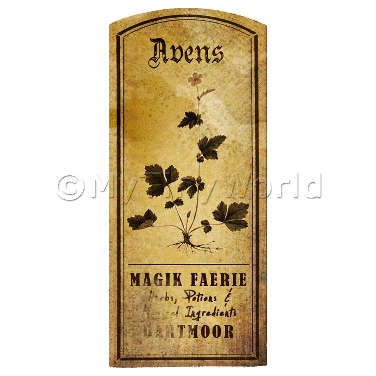Dolls House Herbalist/Apothecary Avens Herb Short Sepia Label