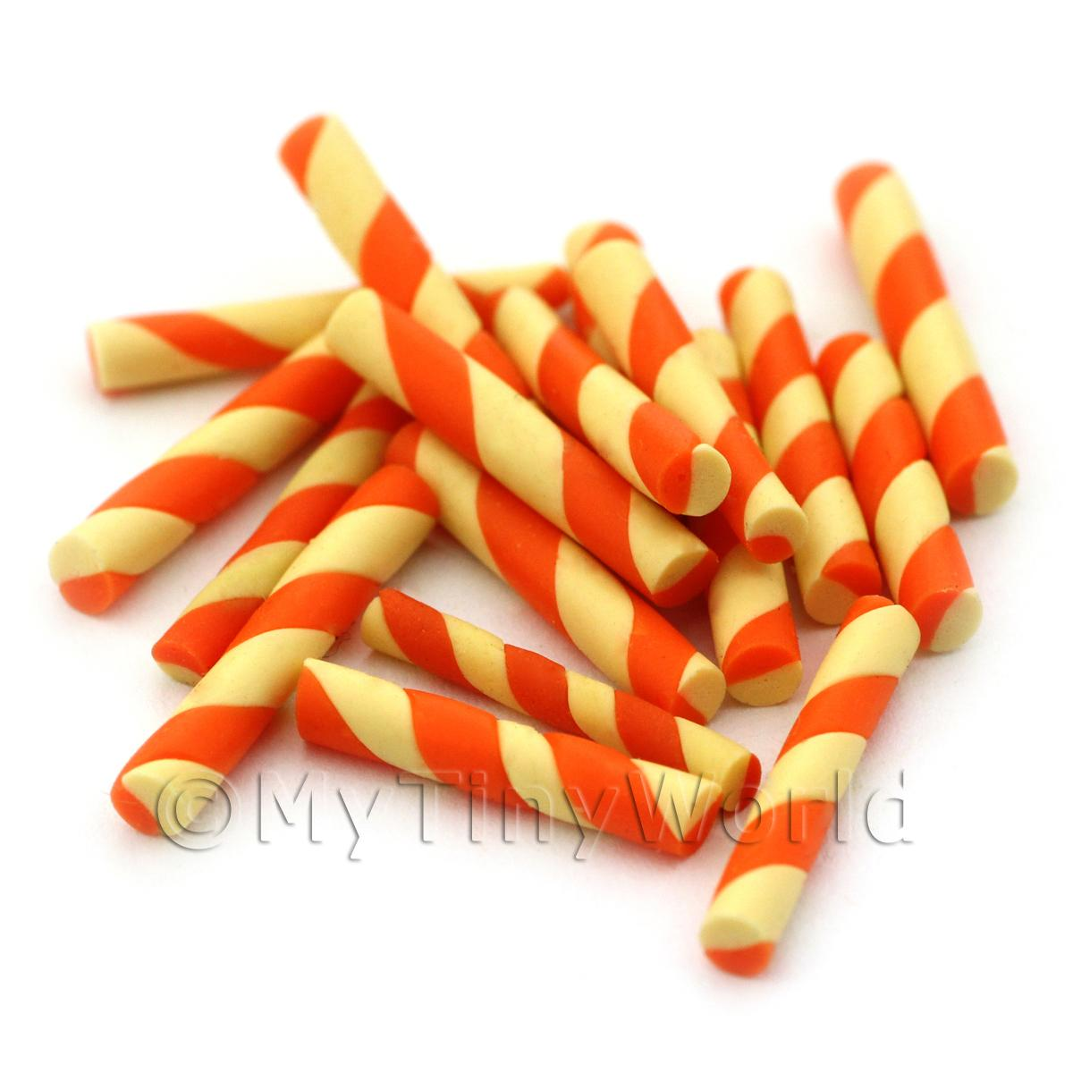 Dolls House Miniature Two Tone Swirly Wafer Straw