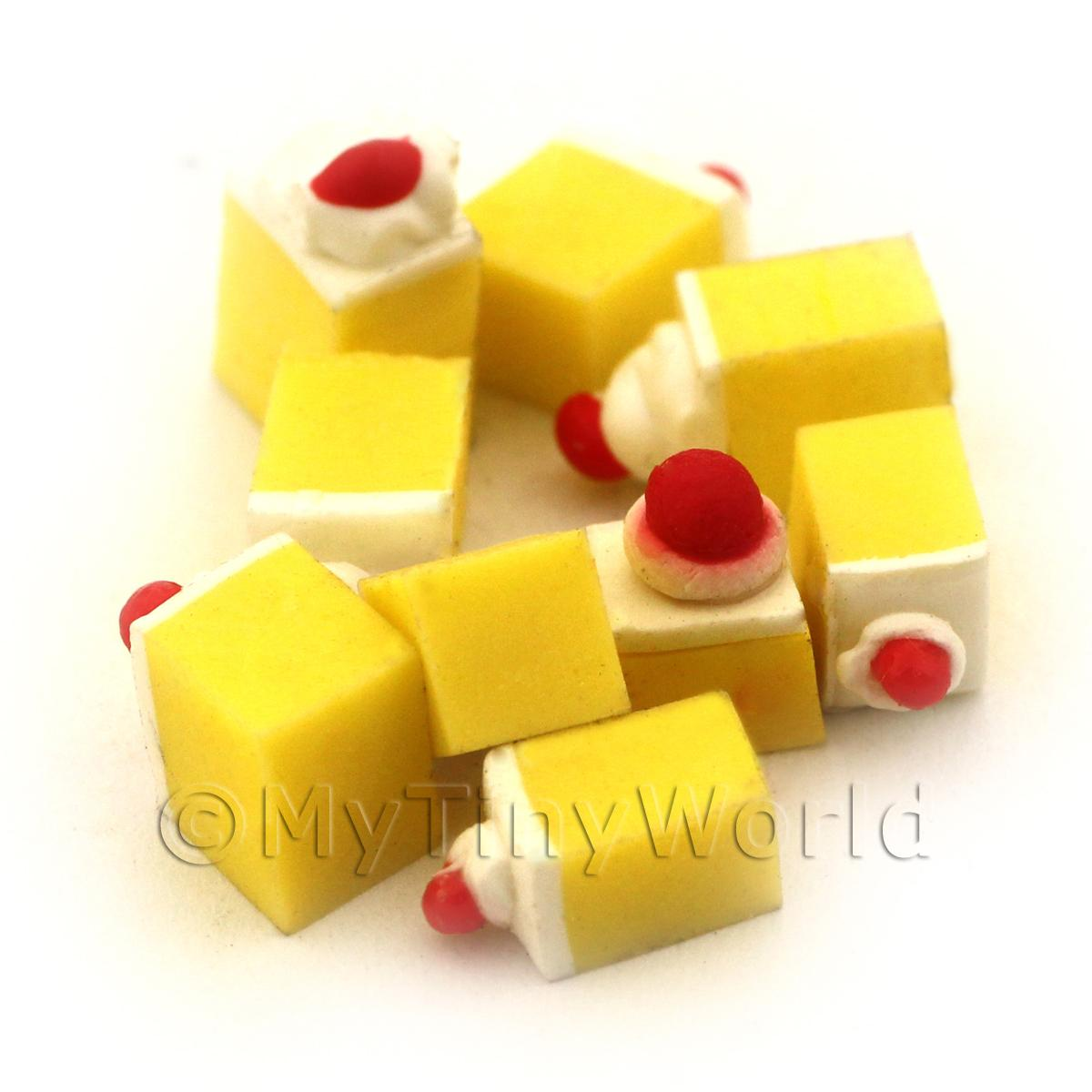 Dolls House Miniature Lemon Square Topped With Cream And A Cherry