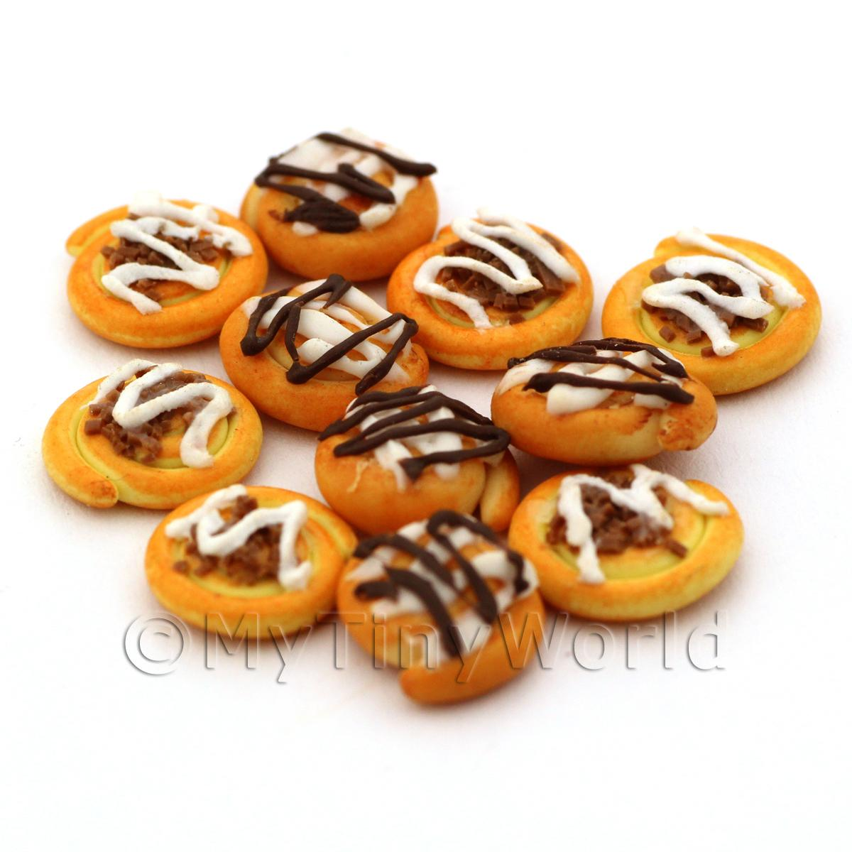 Dolls House Miniature Chocolate Topped Iced Danish Swirl