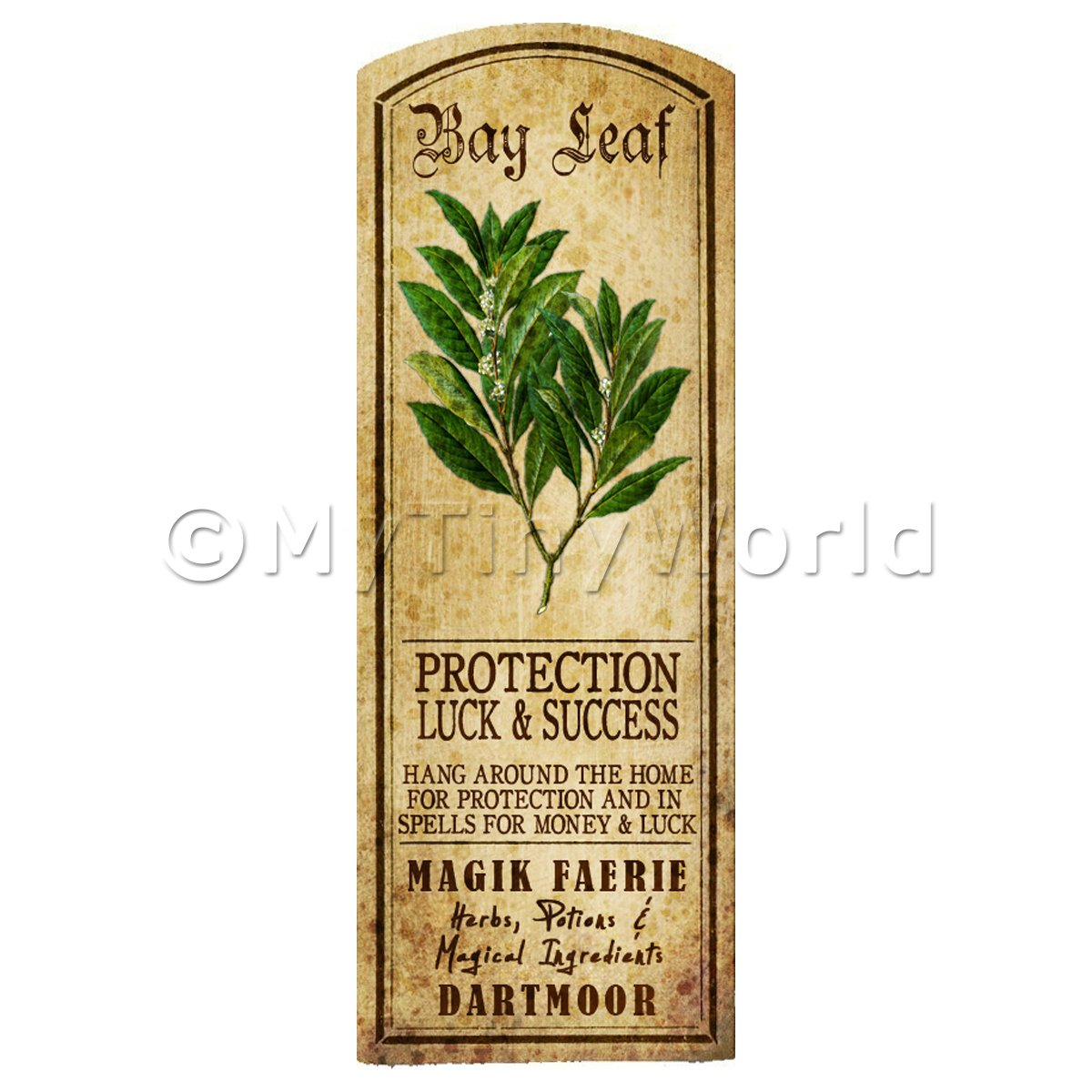Dolls House Herbalist/Apothecary Bay Leaf Herb Long Colour Label