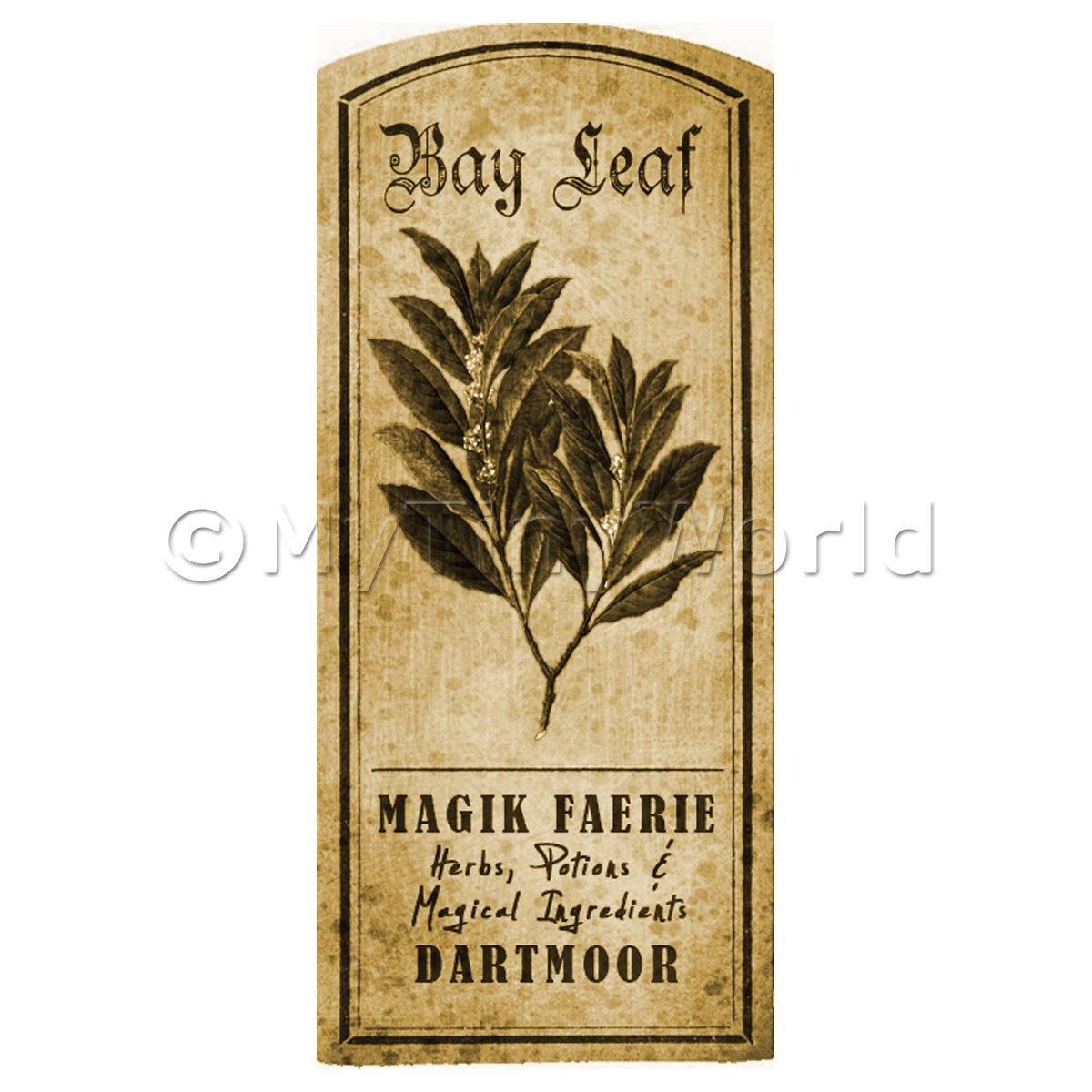 Dolls House Herbalist/Apothecary Bay Leaf Herb Short Sepia Label