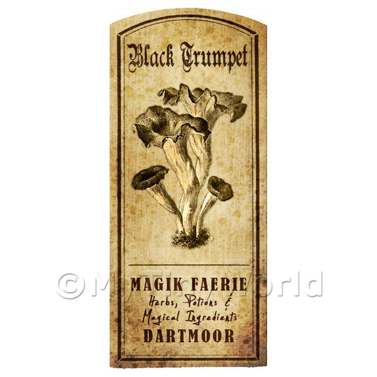 Dolls House Miniature Apothecary Black Trumpet Fungi Label