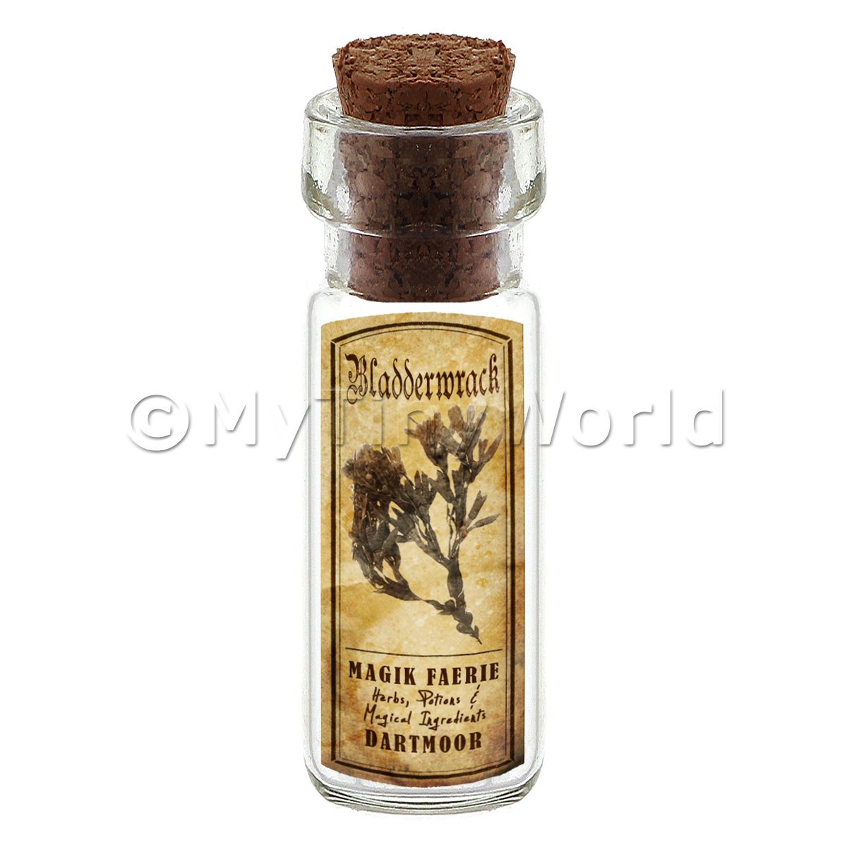 Dolls House Apothecary Bladderwrack Herb Short Sepia Label And Bottle