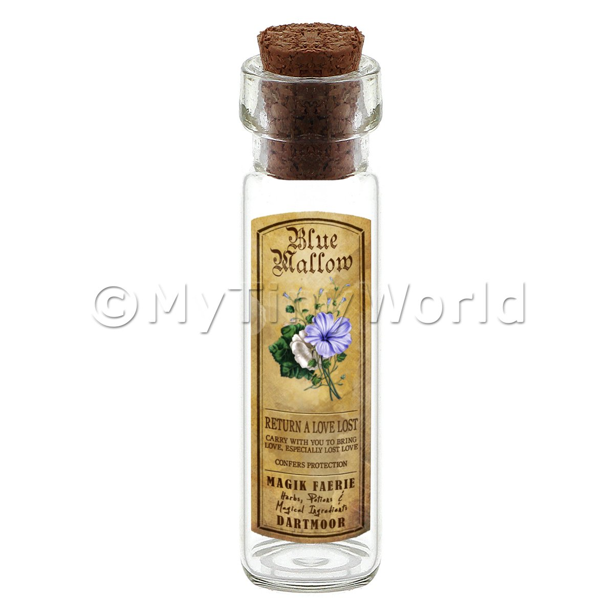 Dolls House Apothecary Blue Mallow Herb Long Colour Label And Bottle