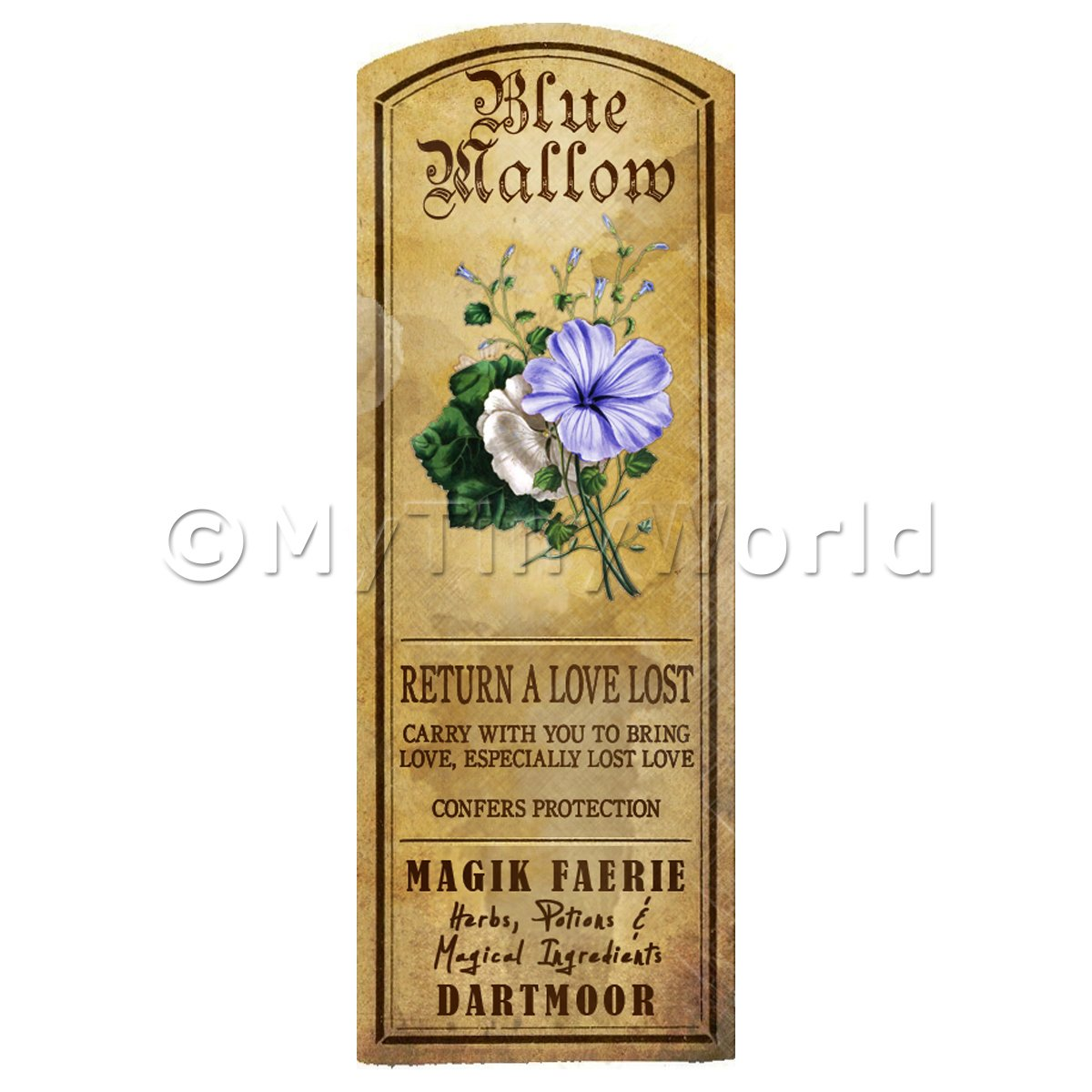 Dolls House Herbalist/Apothecary Blue Mallow Herb Long Colour Label