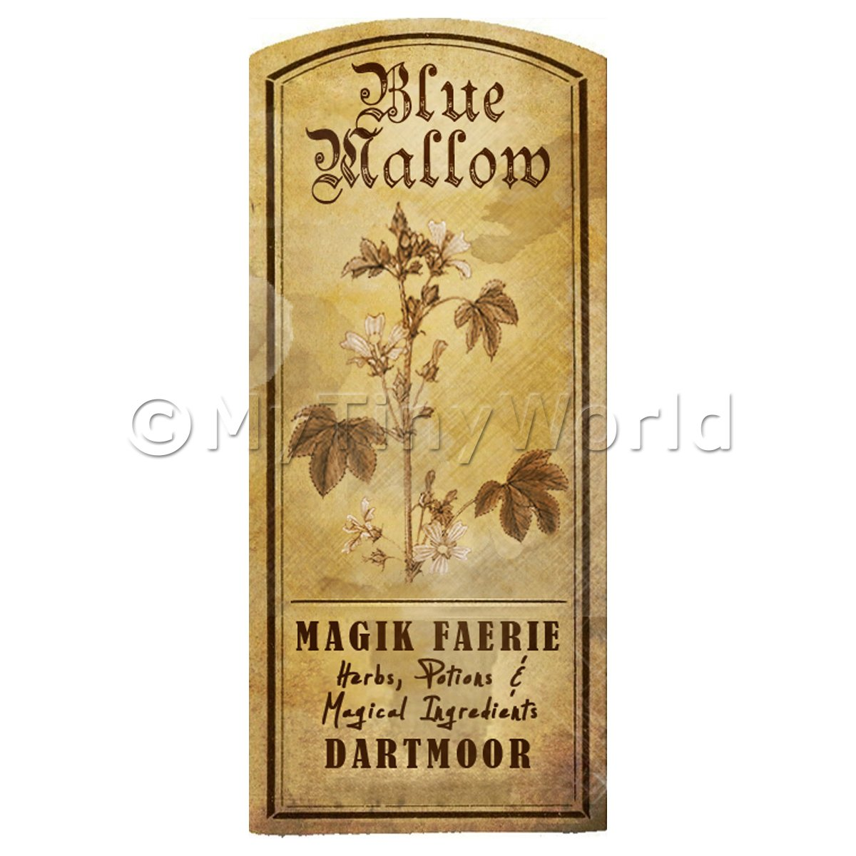 Dolls House Herbalist/Apothecary Blue Mallow Herb Short Sepia Label