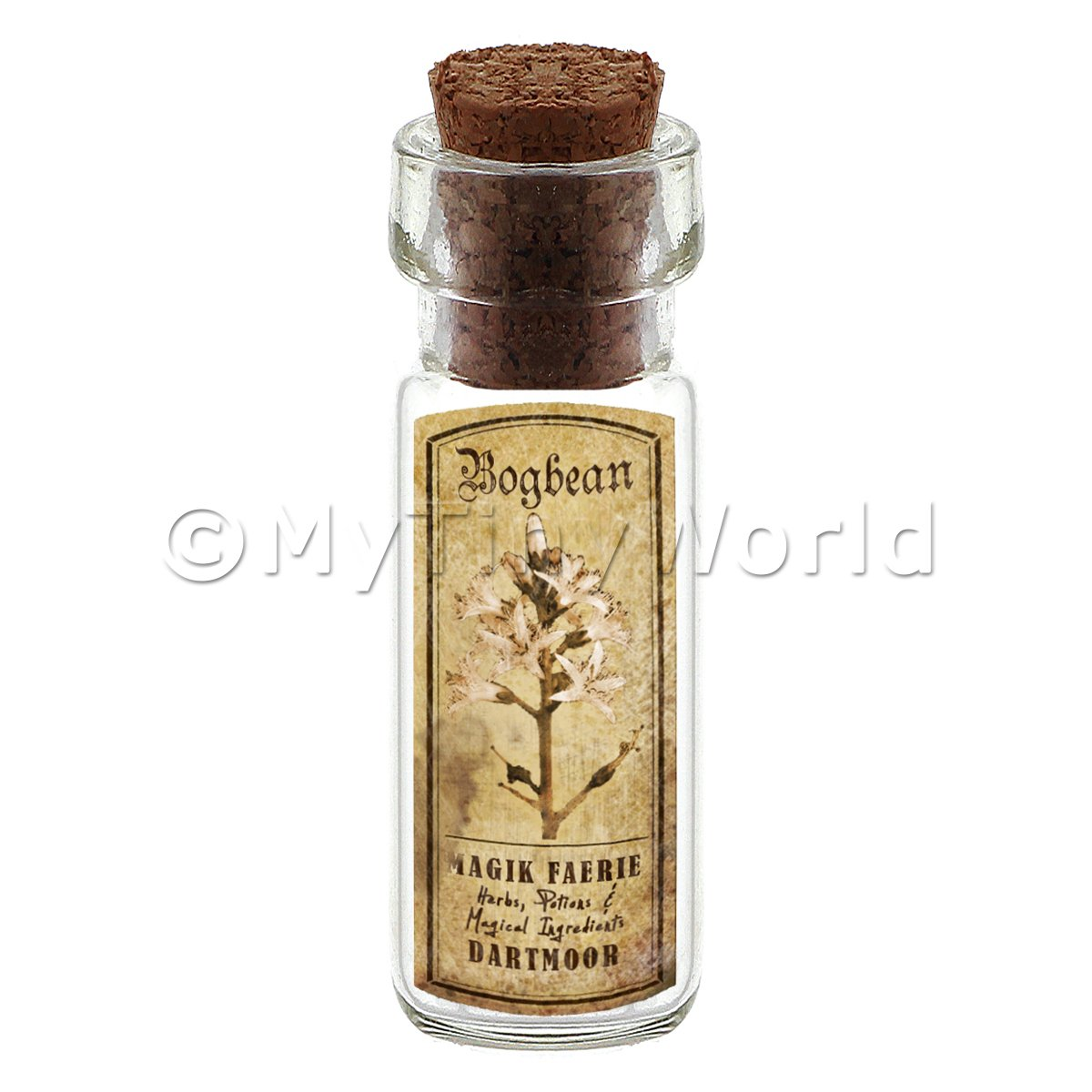 Dolls House Apothecary Bogbean Herb Short Sepia Label And Bottle