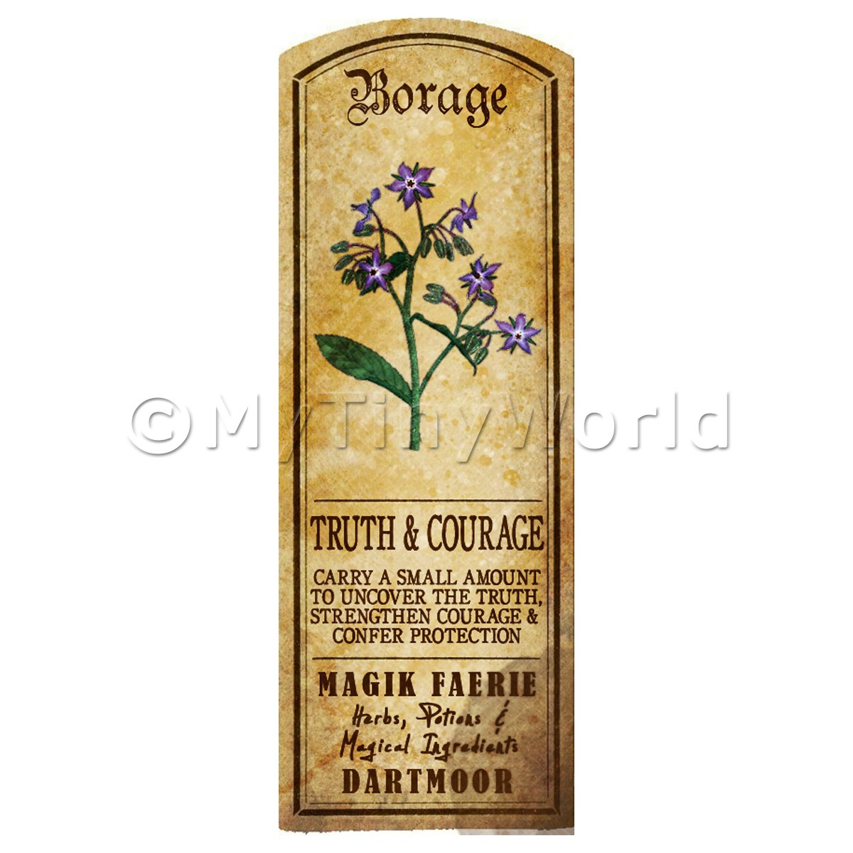 Dolls House Herbalist/Apothecary Borage Herb Long Colour Label