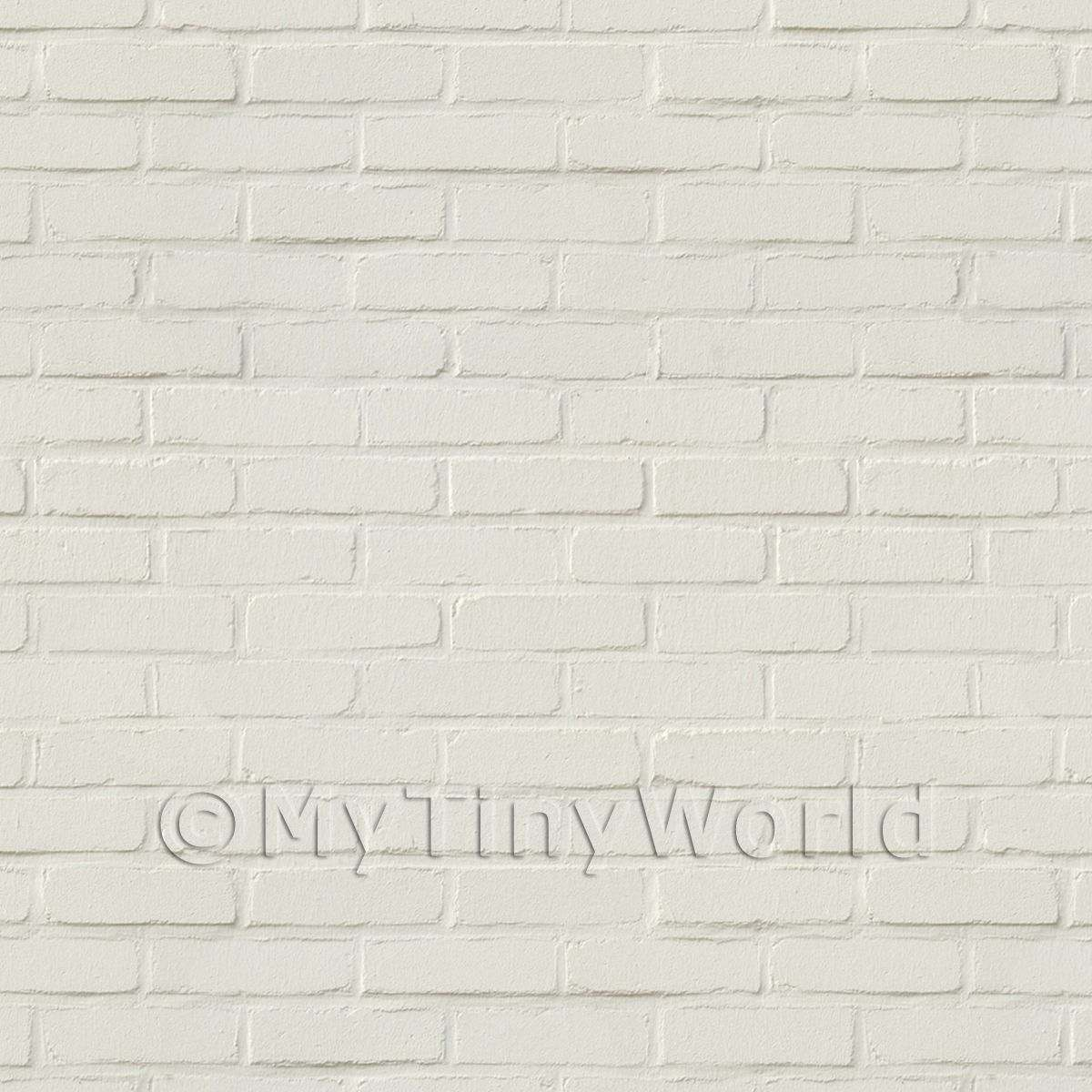 Pack of 5 Dolls House White Painted Brick Pattern Cladding Sheets