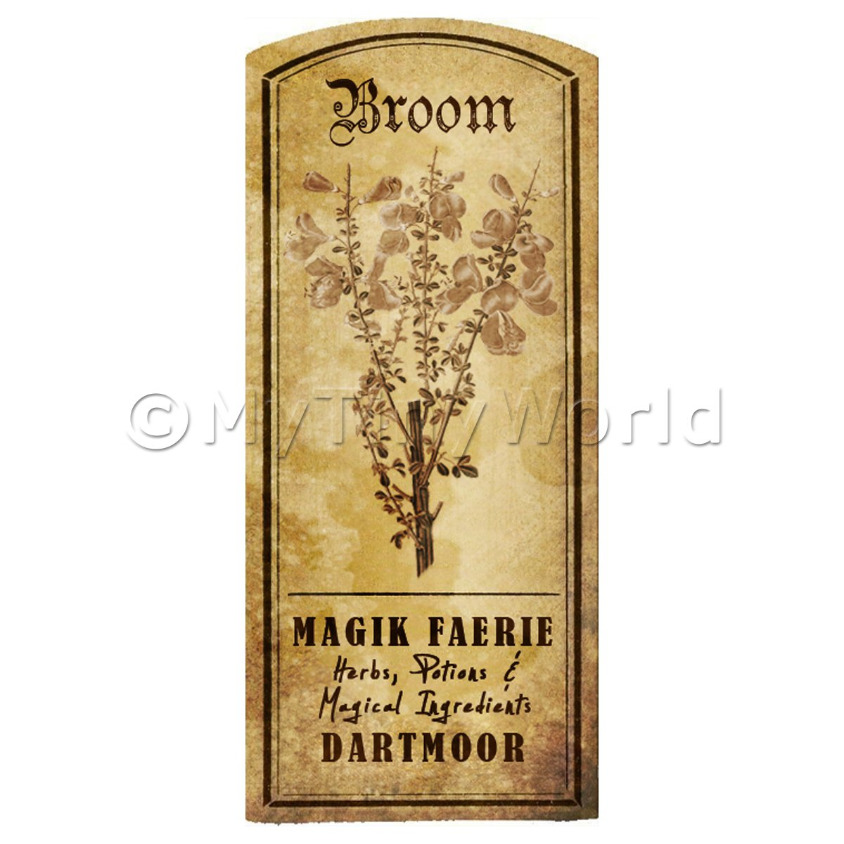 Dolls House Herbalist/Apothecary Broom Herb Short Sepia Label