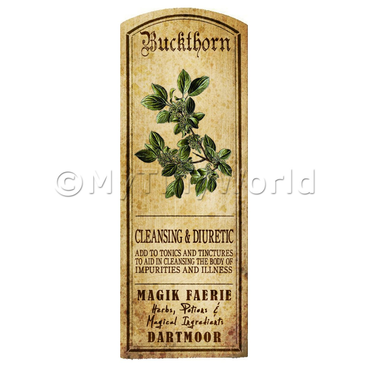 Dolls House Herbalist/Apothecary Buckthorn Herb Long Colour Label