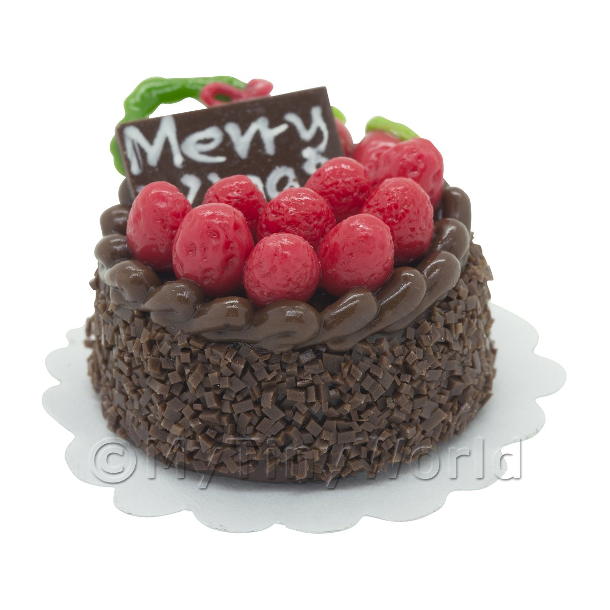 Dolls House Miniature Christmas Cake With Strawberries