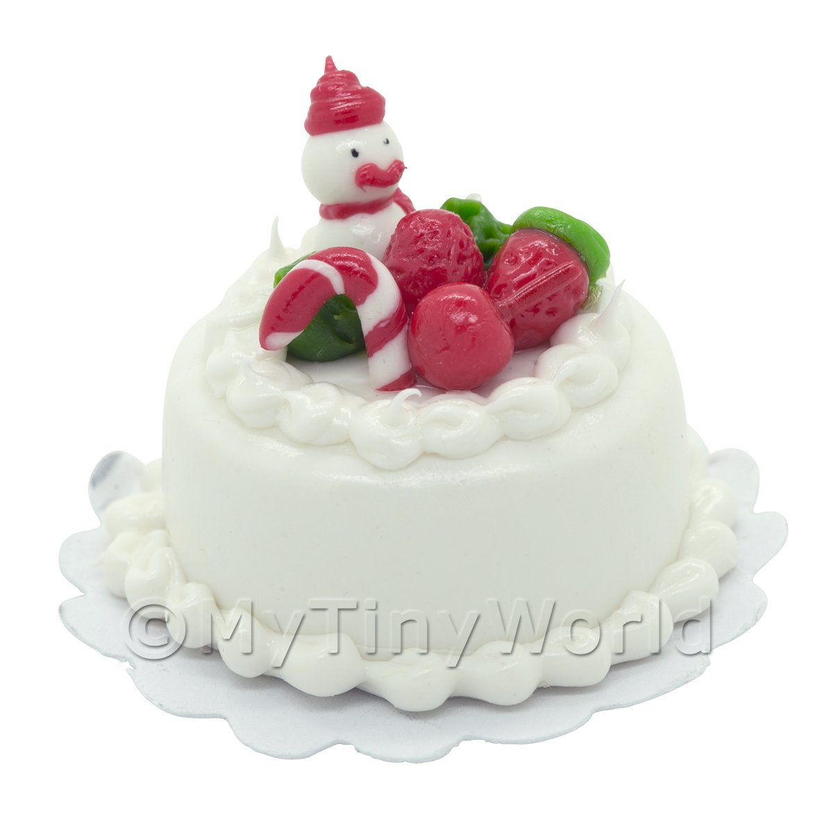 Dolls House Miniature Christmas Cake With Snowman and Candy Cane
