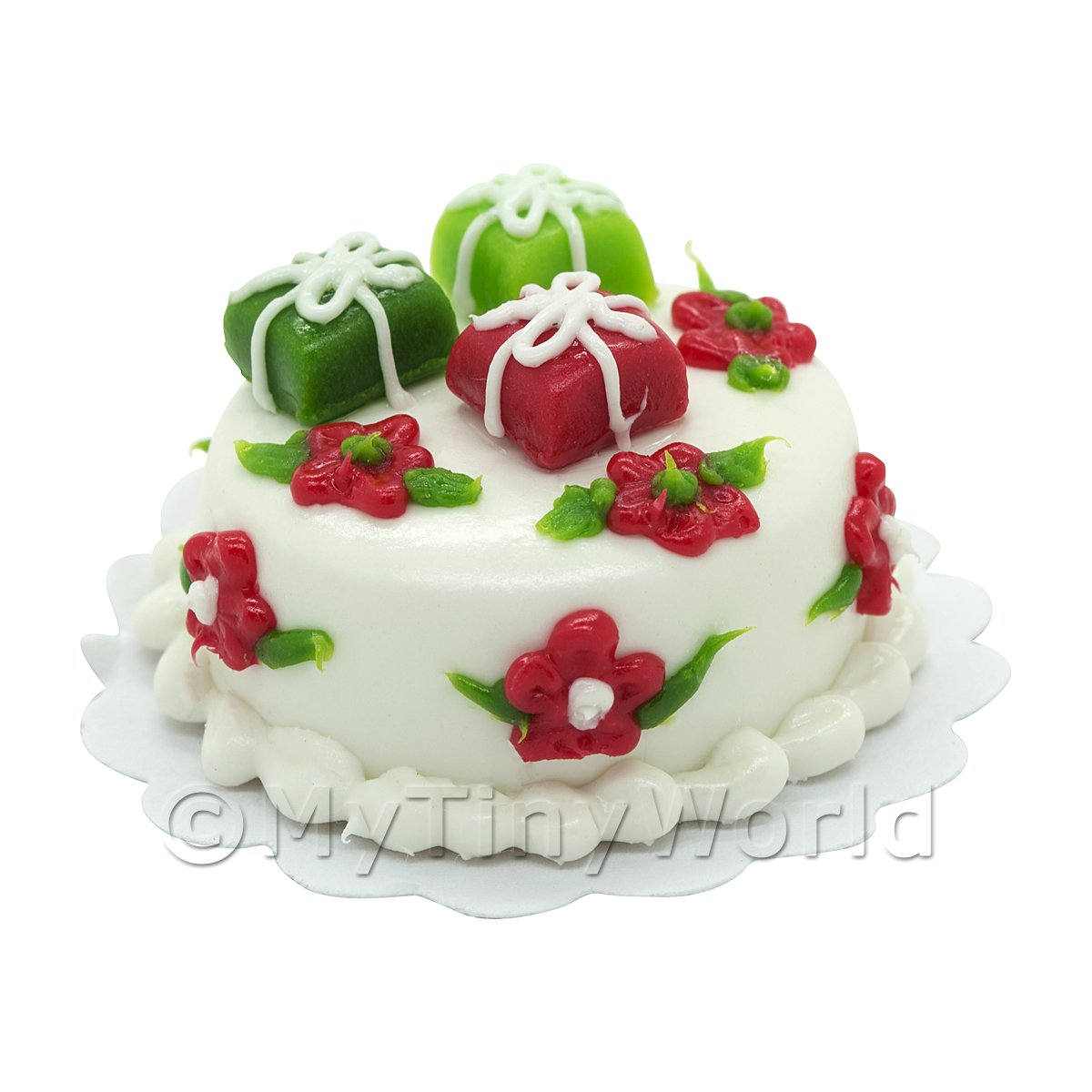Dolls House Miniature Christmas Cake With Three Parcels