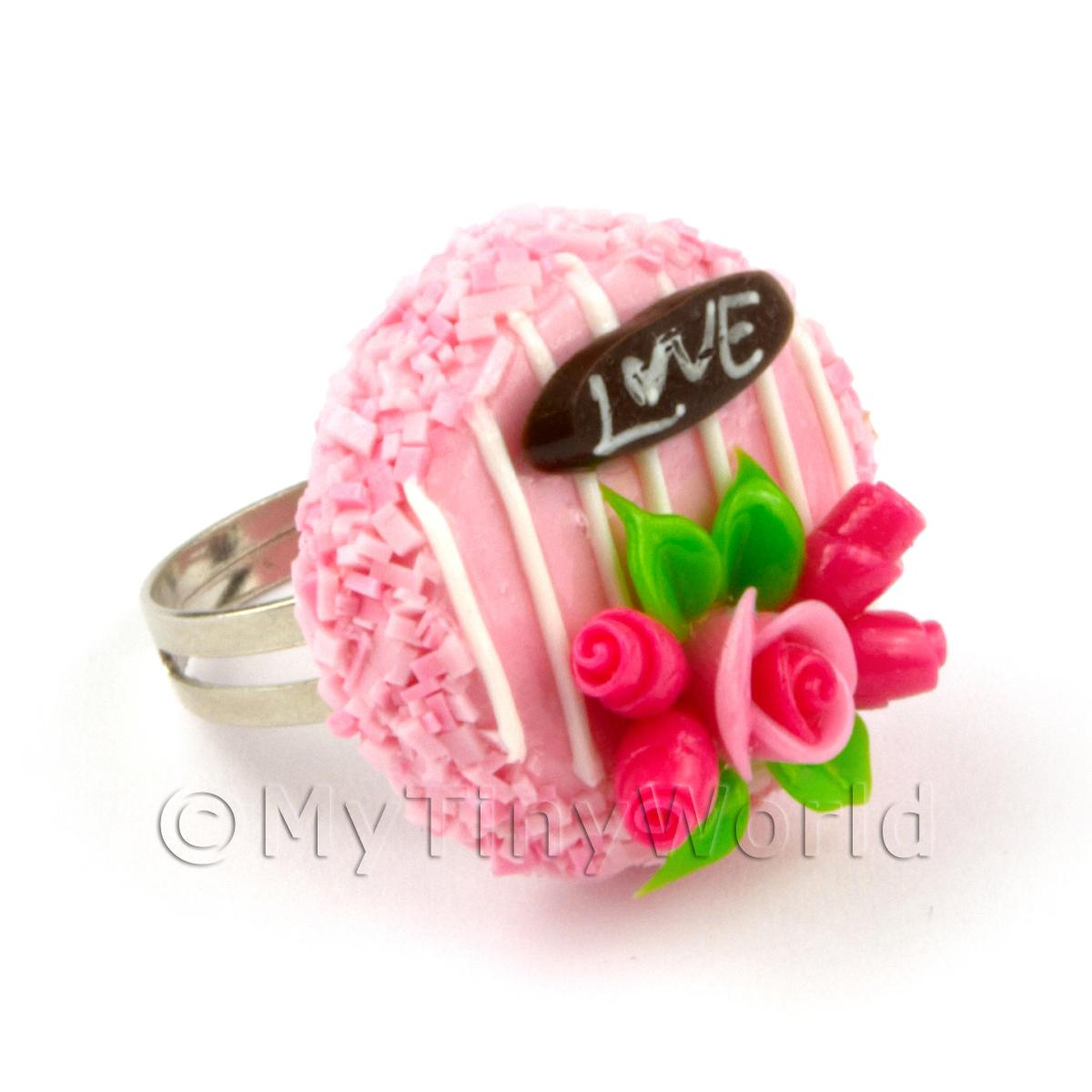 Miniature Handmade Adjustable Pink Cake Ring