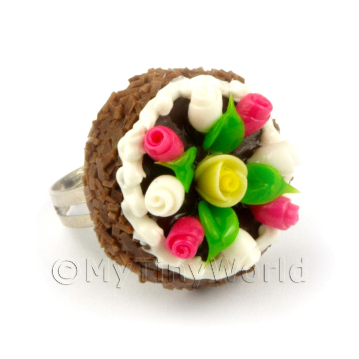 Dolls House Handmade Adjustable Chocolate Cake Ring