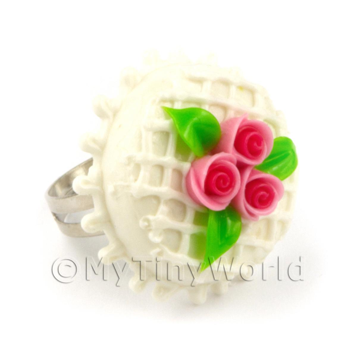 Dolls House Miniature  Handmade Adjustable Pink Rose Cake Ring