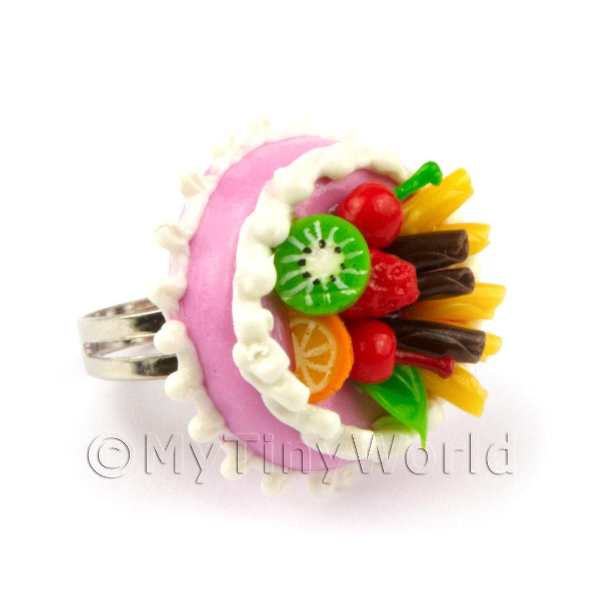 Dolls House Handmade Adjustable Pink With Fruit Cake Ring