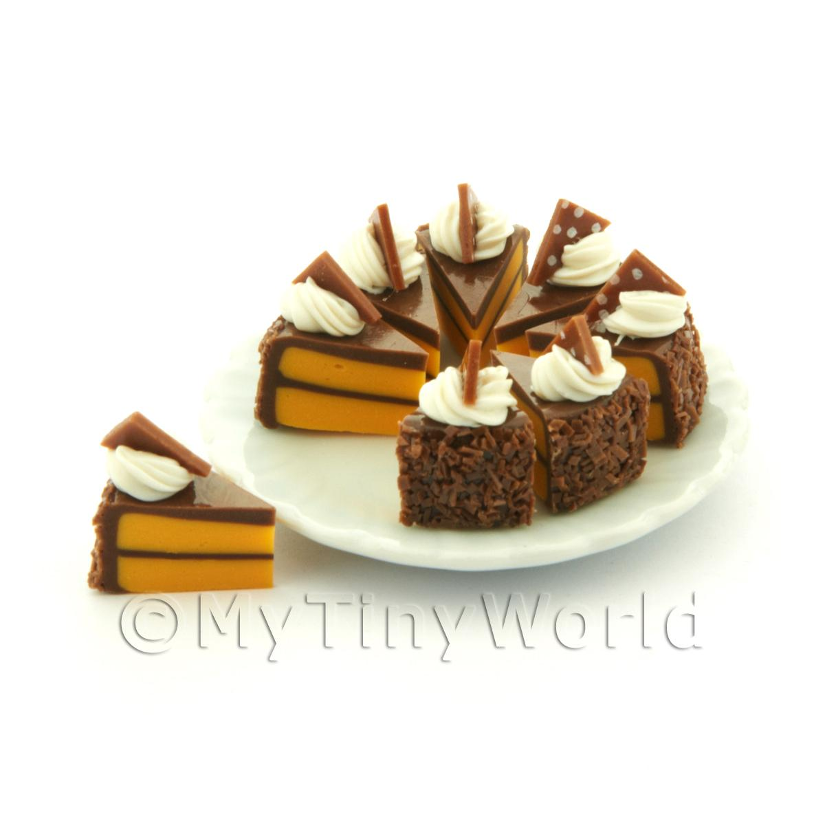 Dolls House Miniature Whole Sliced Chocolate Triangle Cake
