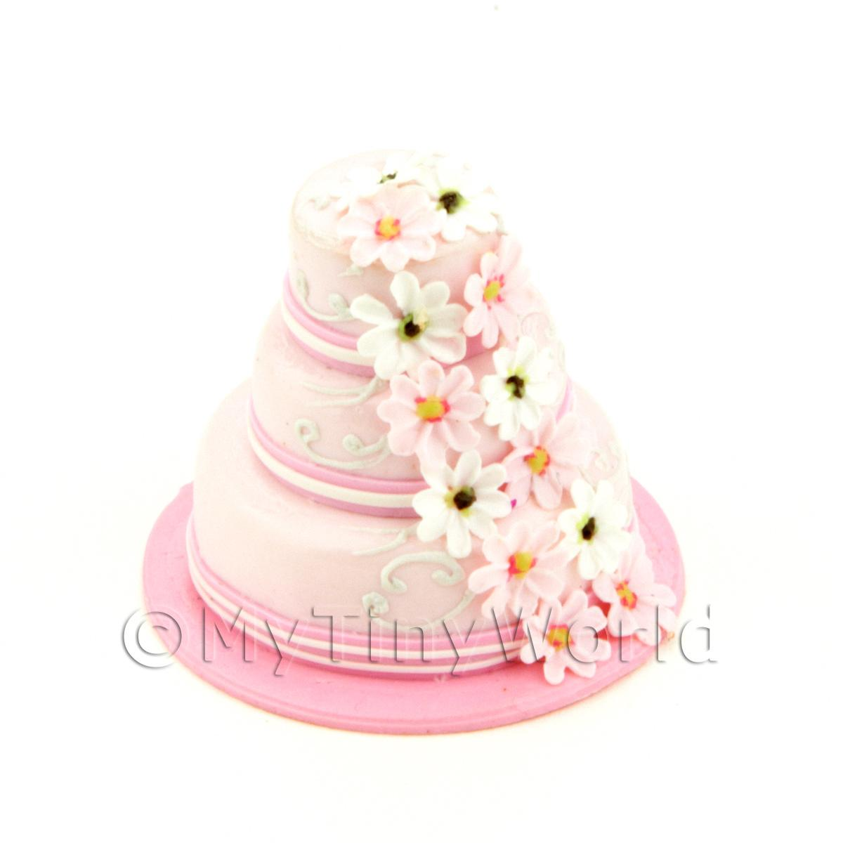 Dolls House Miniature 3 Tier Pink Cake With Daisies