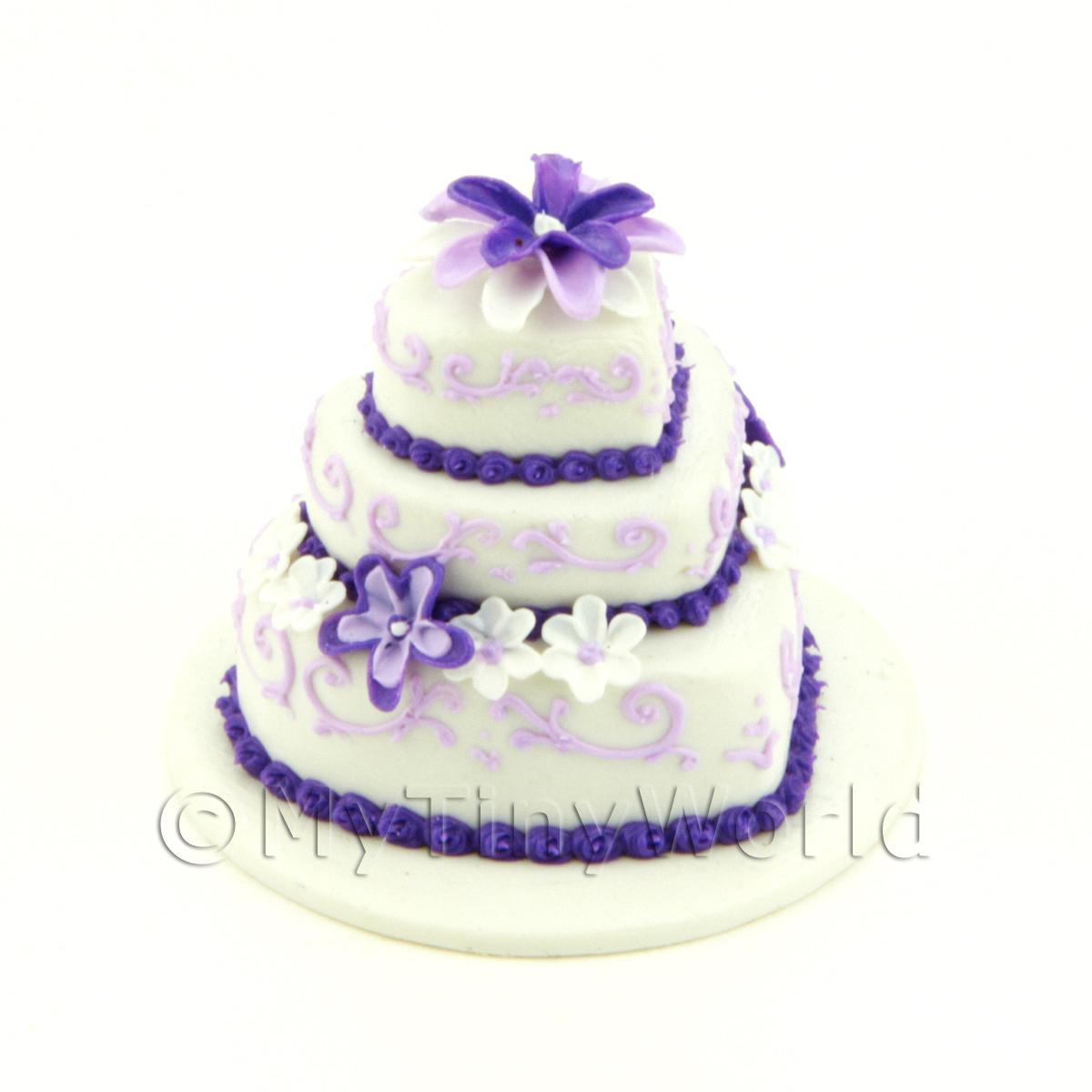 Dolls House Miniature 3 Tier White And Purple Cake With Flowers