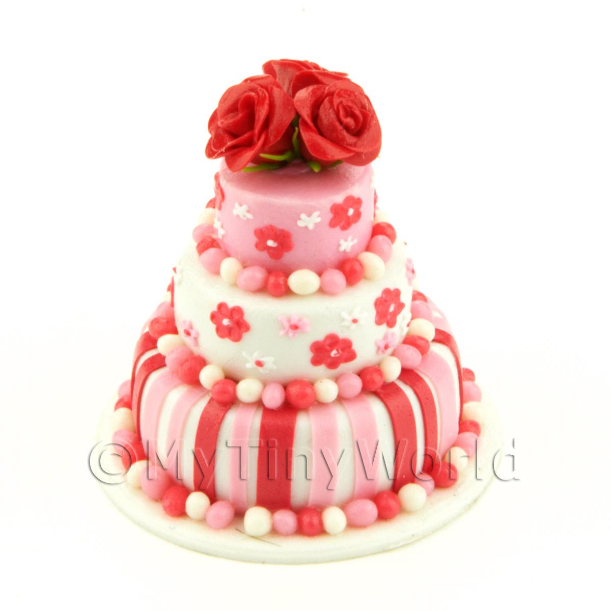 Dolls House Miniature 3 Tier Red / Pink / White Cake With Roses