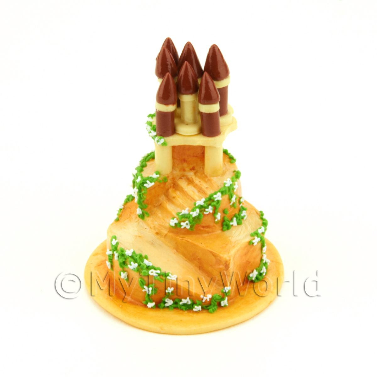 Dolls House Miniature 3 Tier Princess Castle Cake