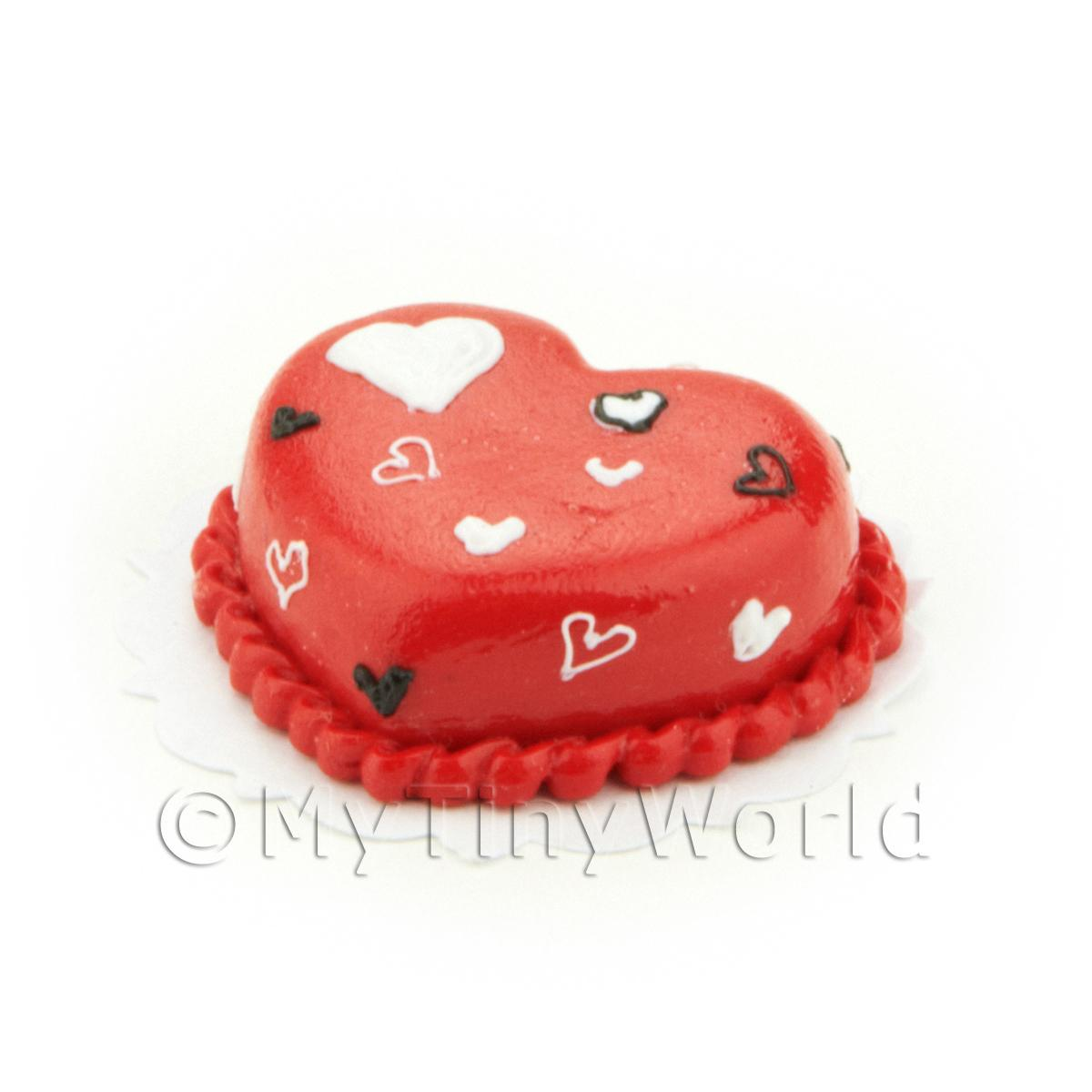 Dolls House Miniature Red Iced Heart Cake
