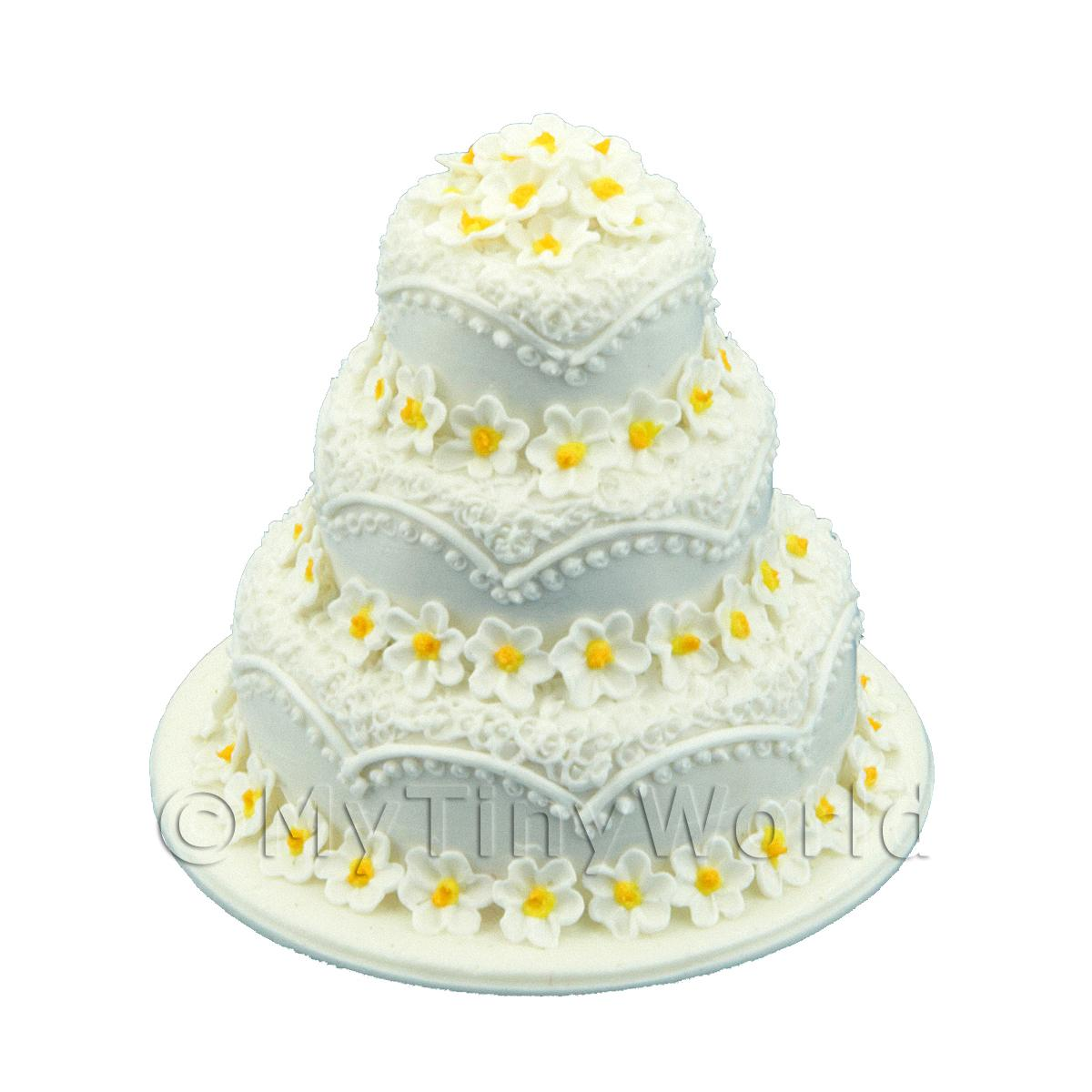 Dolls House Miniature 3 Tier White Daisy Cake