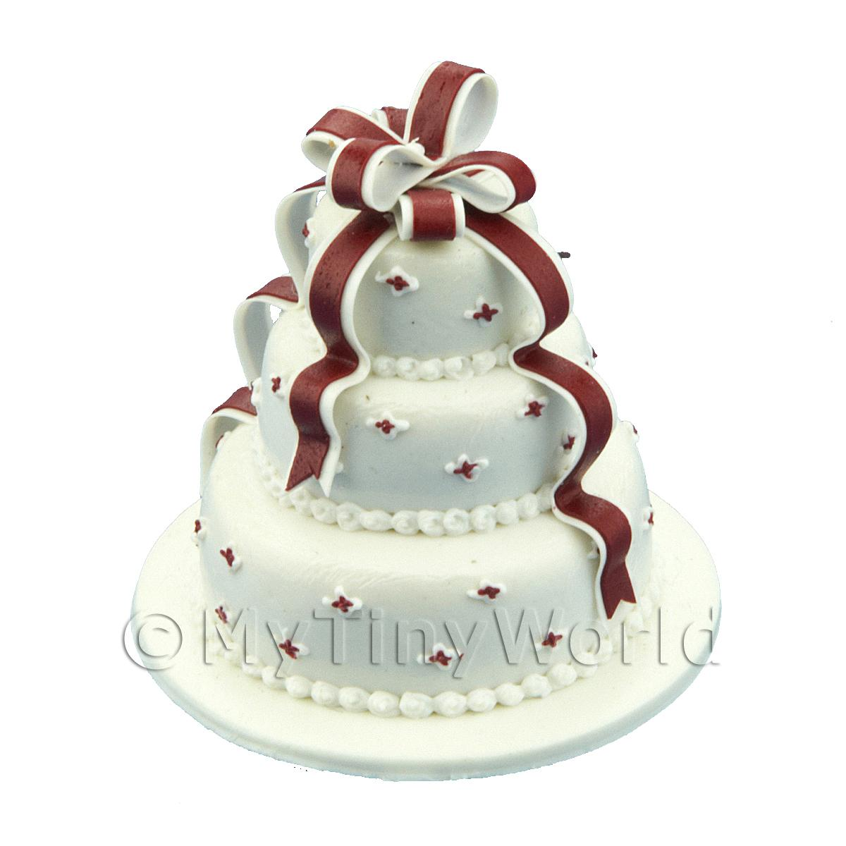 Dolls House Miniature 3 Tier White Ribbon Cake