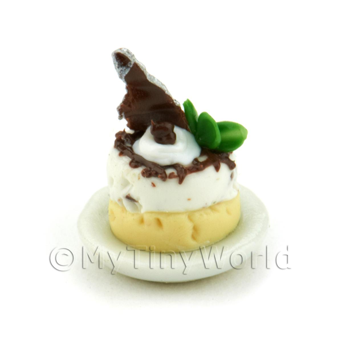 Dolls House Miniature Chocolate Topped, Iced Choux Bun