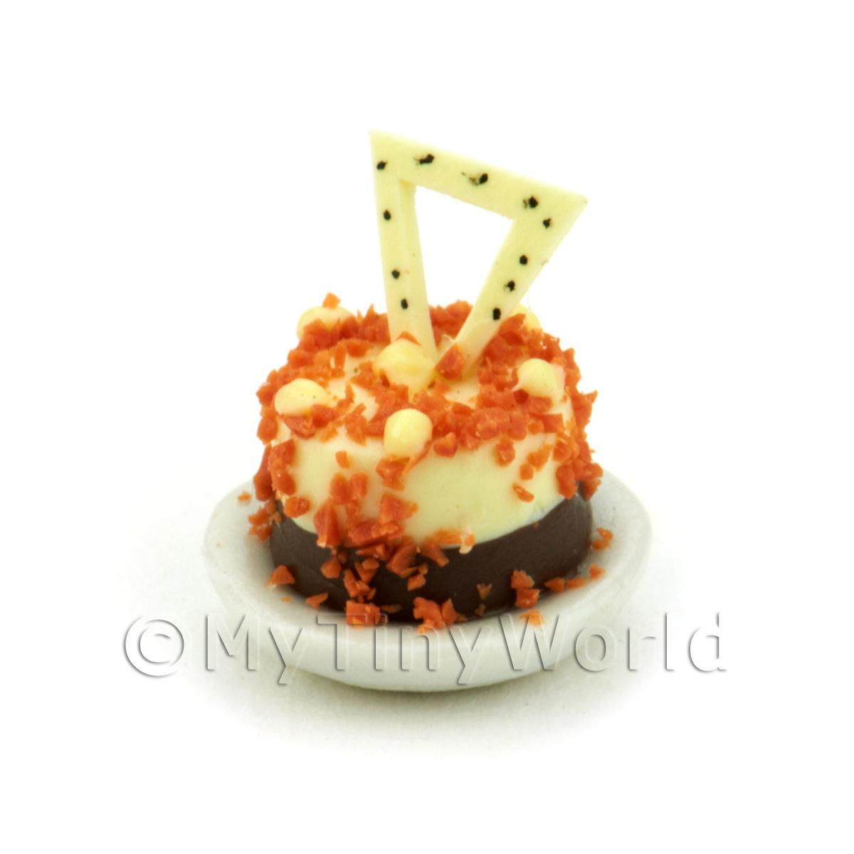 Dolls House Miniature White And Dark Chocolate Pudding