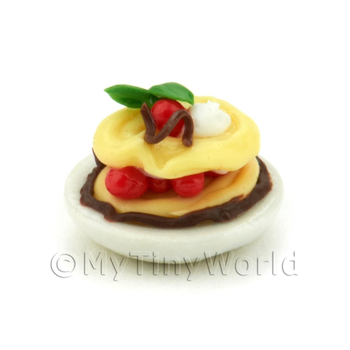 Dolls House Miniature Cherry And Chocolate Choux Bun