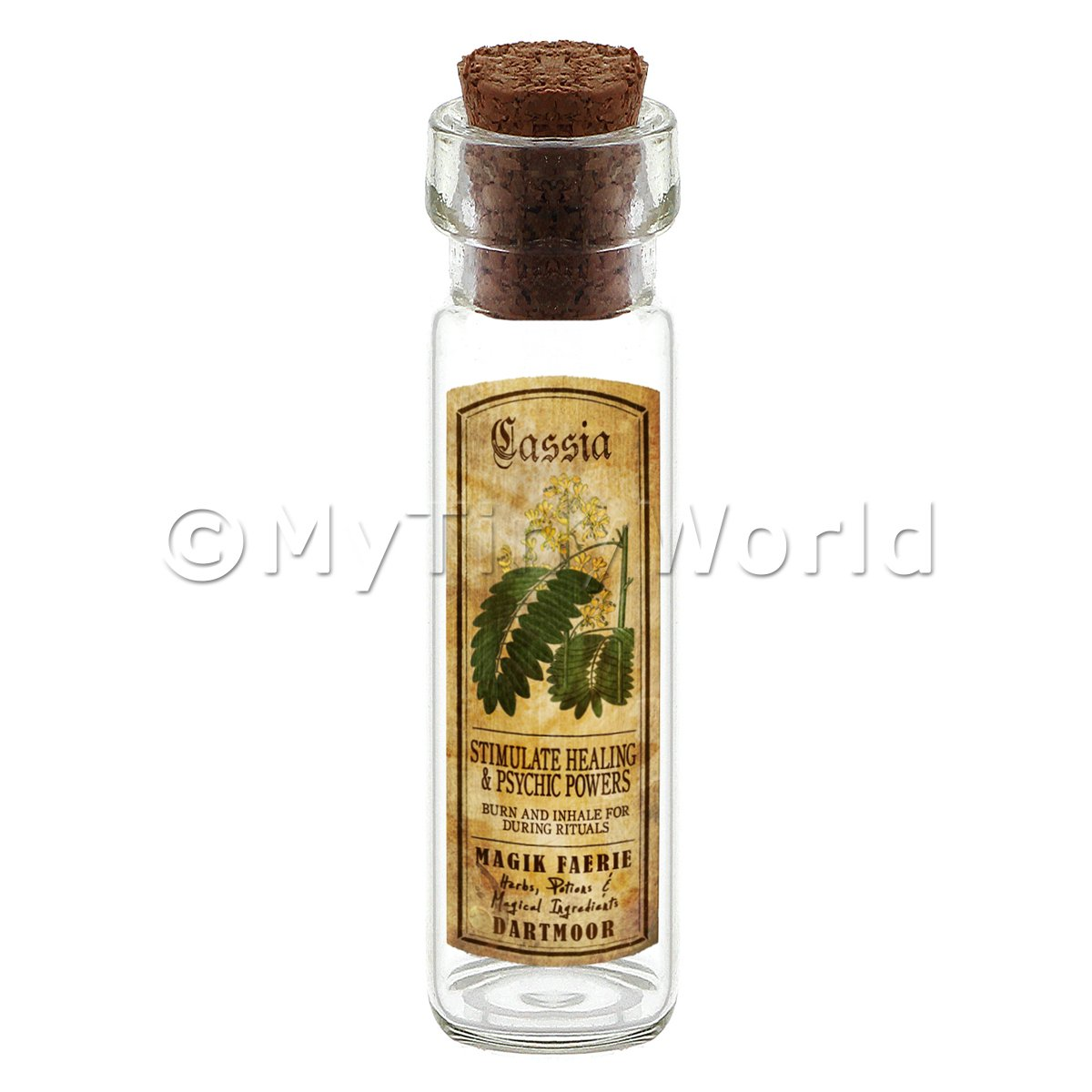 Dolls House Apothecary cassia Herb Long Colour Label And Bottle