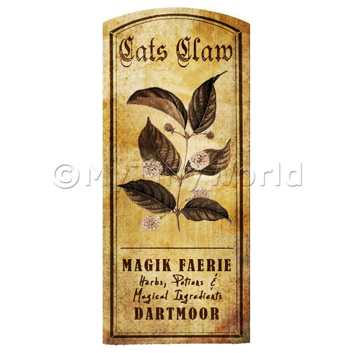 Dolls House Herbalist/Apothecary Cats Claw Herb Short Sepia Label