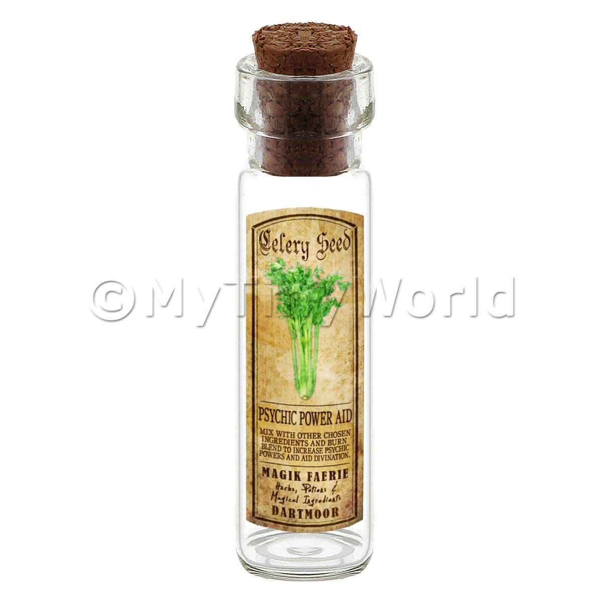Dolls House Apothecary Celery Seed Herb Long Colour Label And Bottle