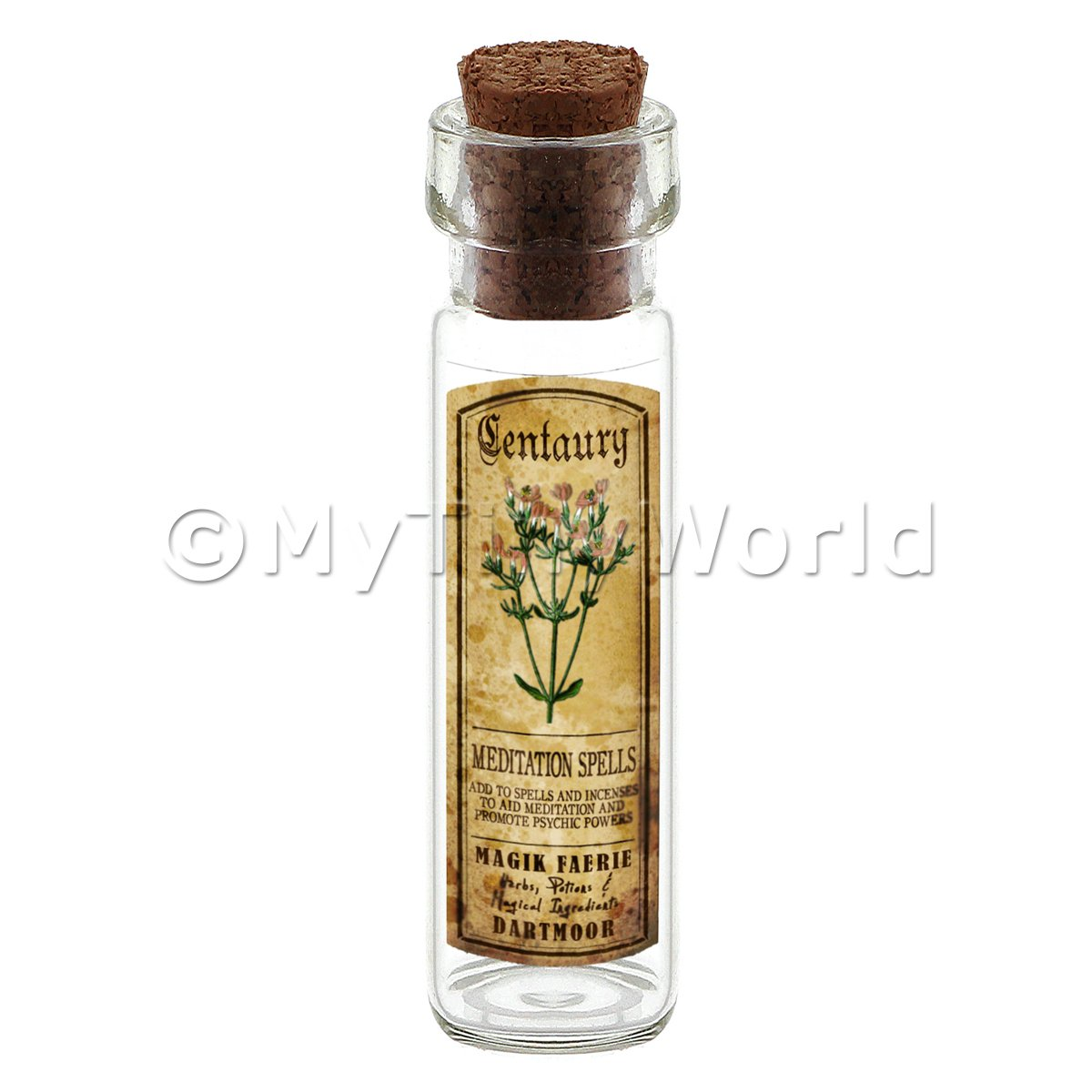 Dolls House Apothecary Centuary Herb Long Colour Label And Bottle