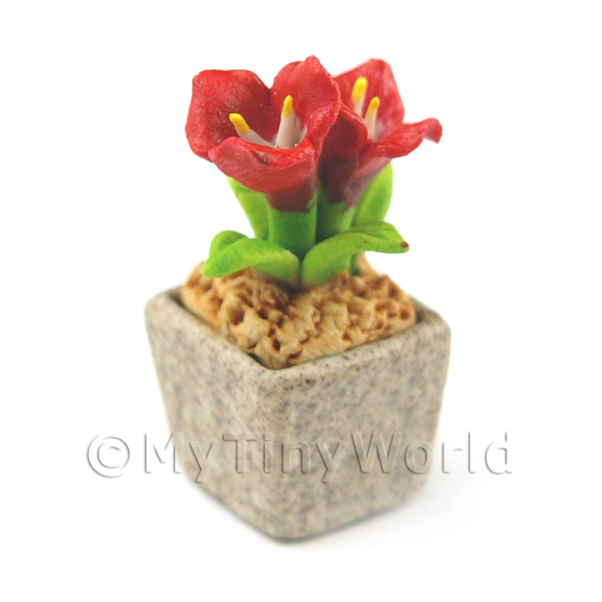 Miniature Handmade Red Coloured Ceramic Flower (CFR12)