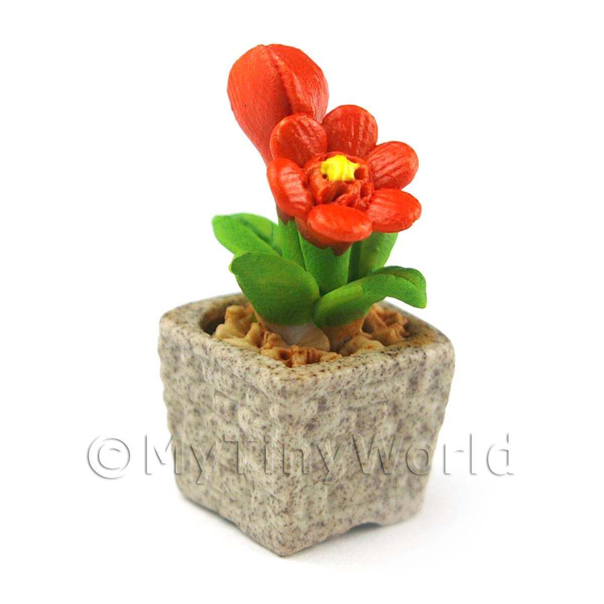 Miniature Handmade Dark Orange Coloured Ceramic Flower (CFDO5)