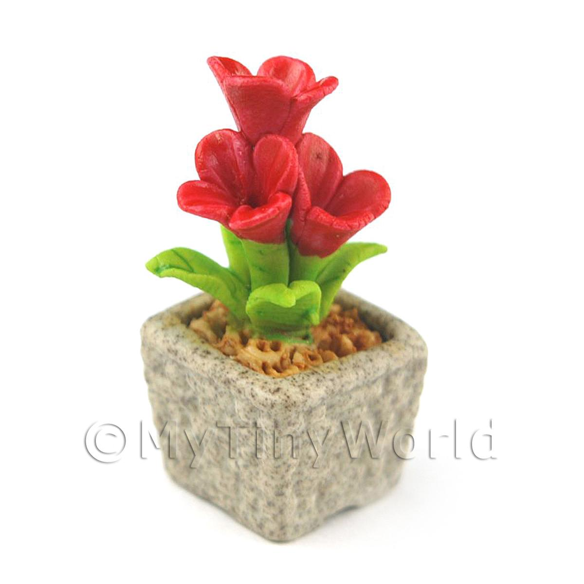 Miniature Handmade Red Coloured Ceramic Flower (CFR13)