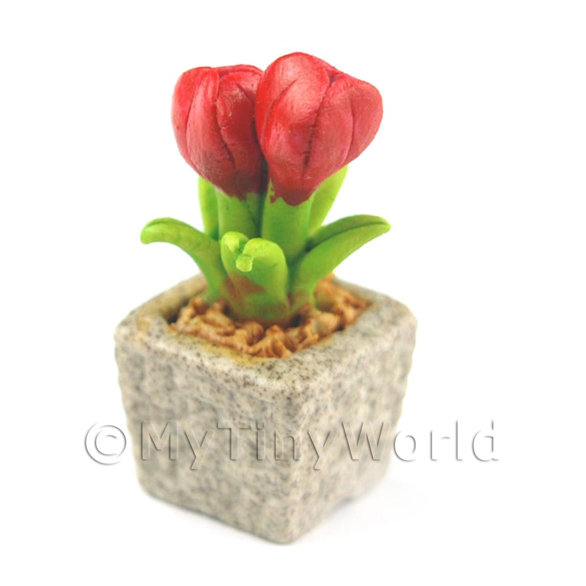 Miniature Handmade Red Coloured Ceramic Flower (CFR3)