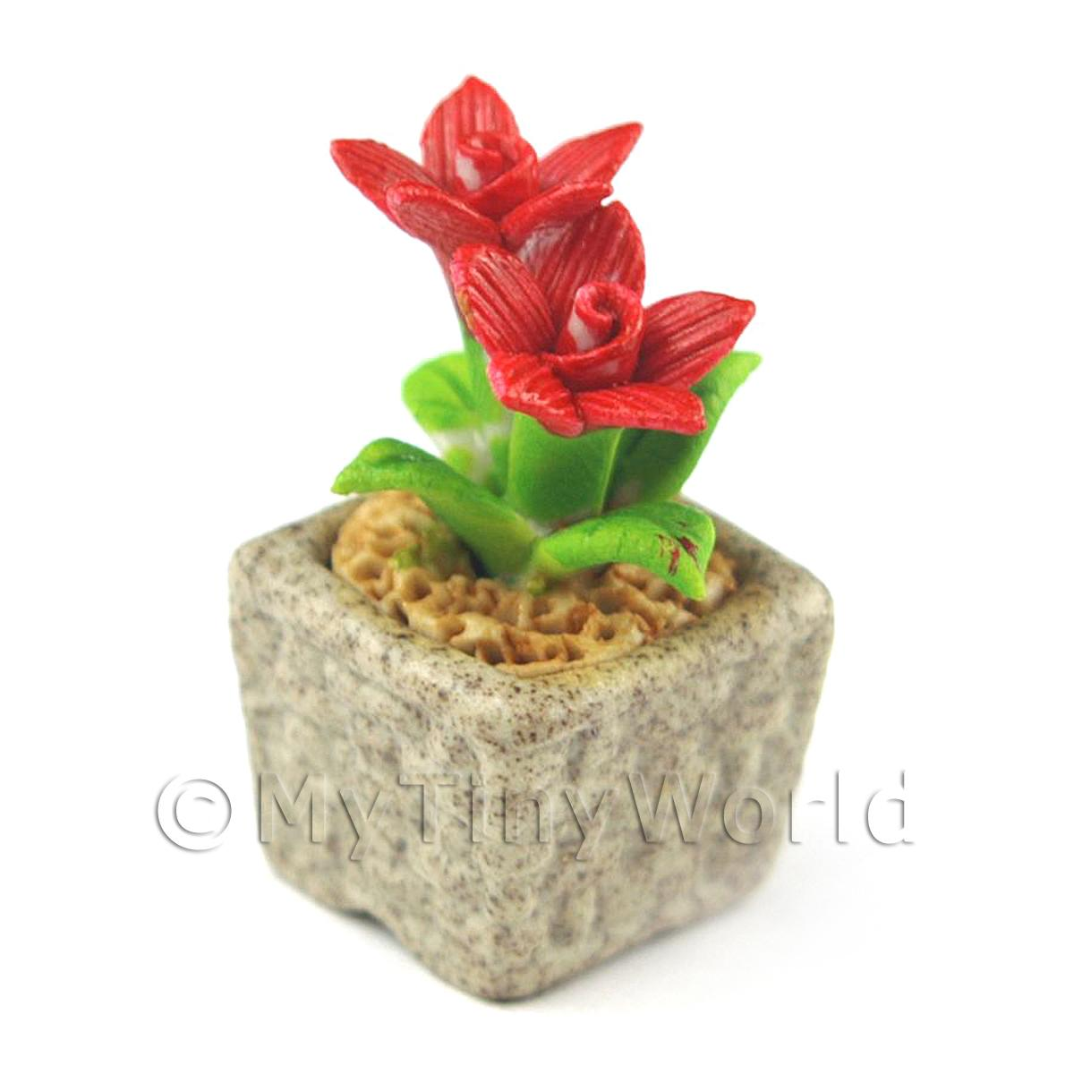 Miniature Handmade Red Coloured Ceramic Flower (CFR14)
