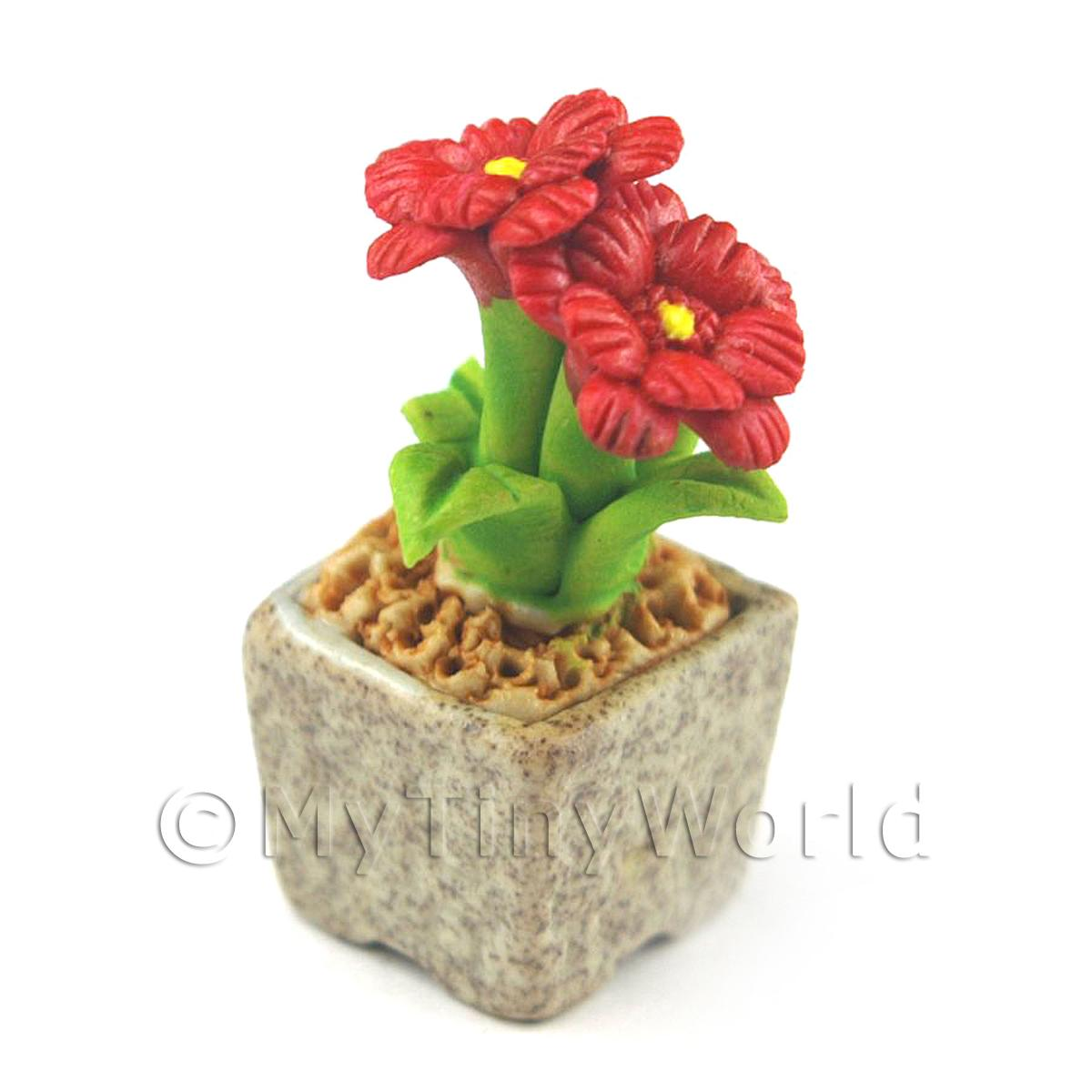 Miniature Handmade Red Coloured Ceramic Flower (CFR9)