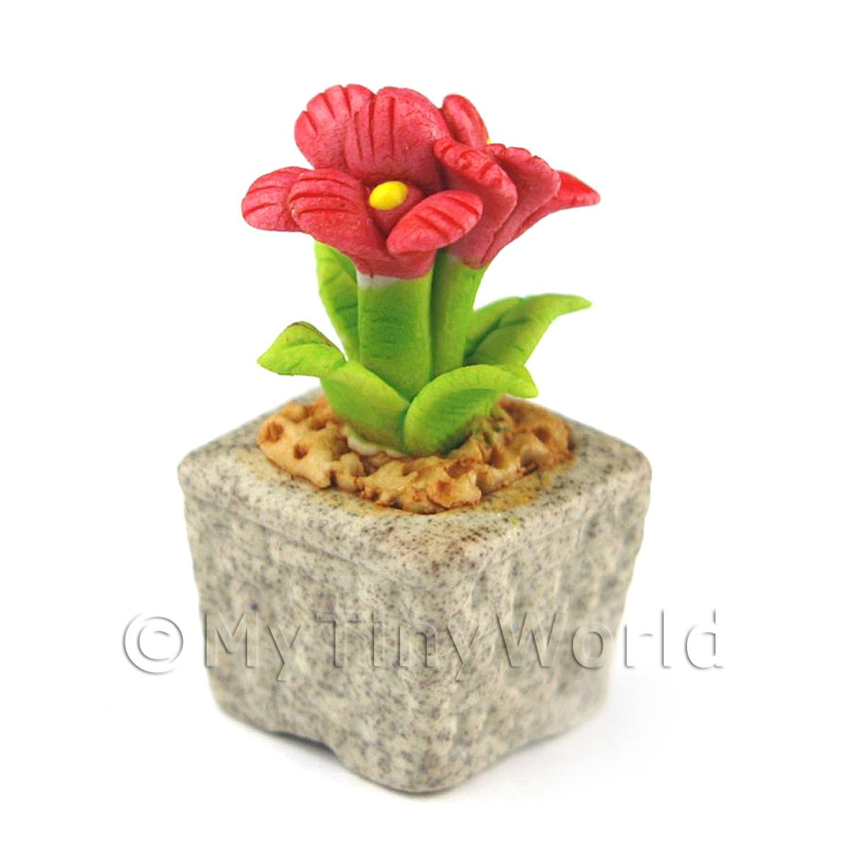 Miniature Handmade Red Coloured Ceramic Flower (CFR15)