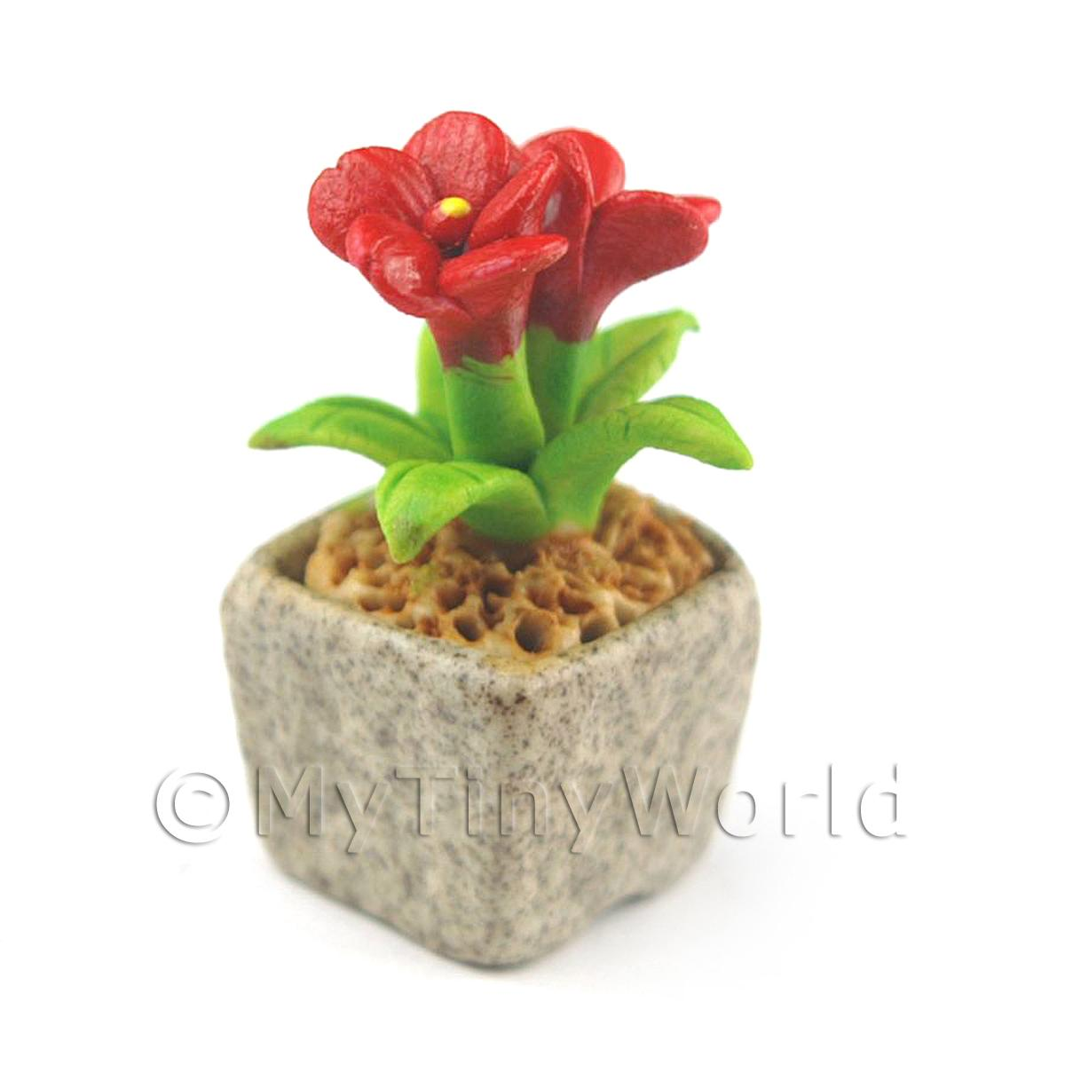 Miniature Handmade Red Coloured Ceramic Flower (CFR5)